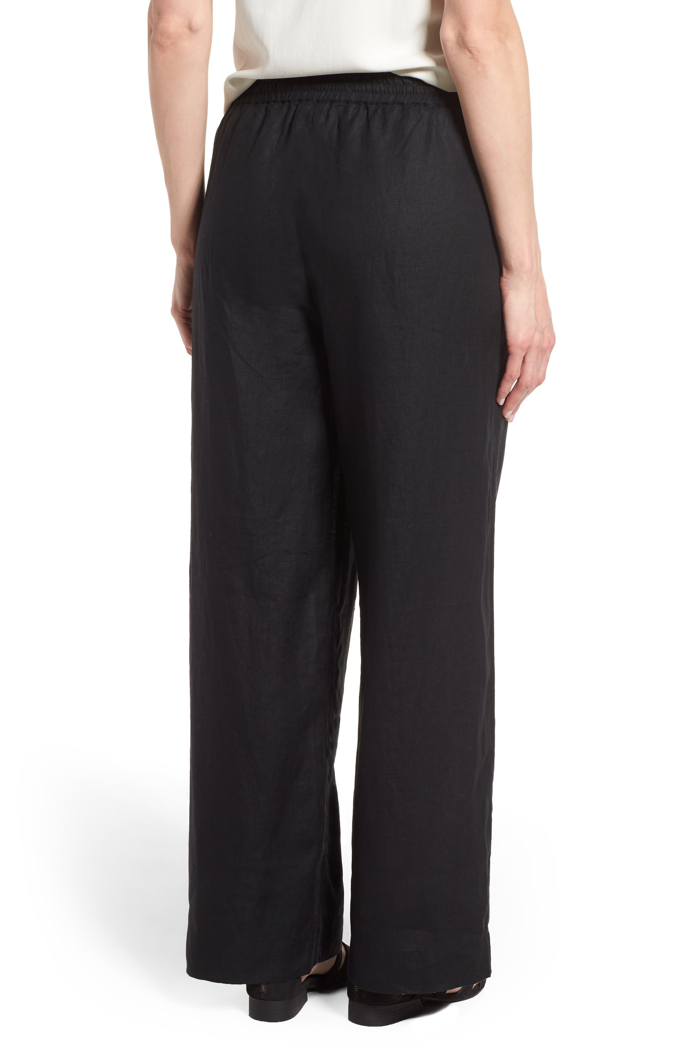 Wide Leg Organic Linen Pants,                             Alternate thumbnail 2, color,                             001