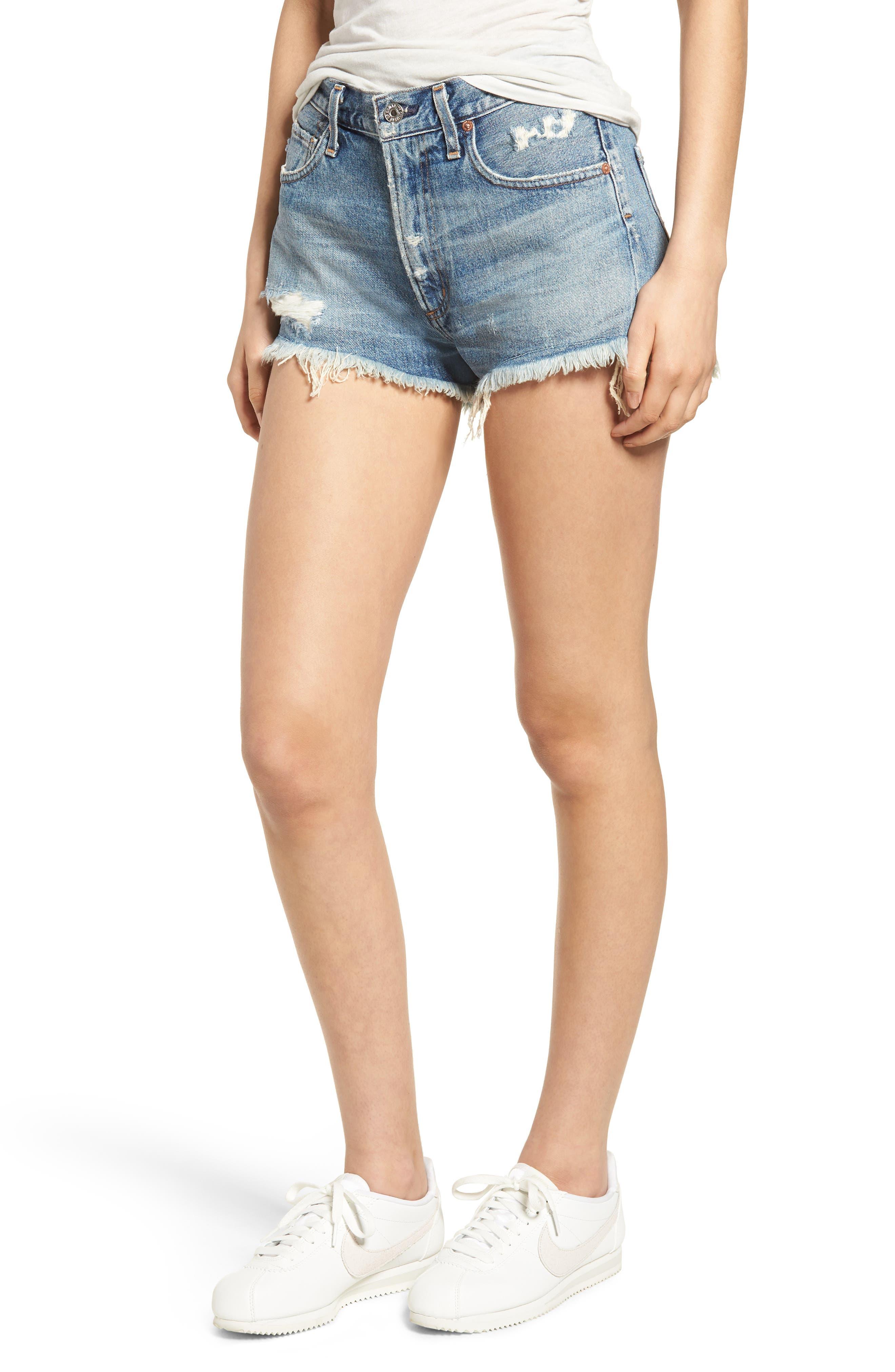 Danielle High Waist Cutoff Shorts,                         Main,                         color, 429