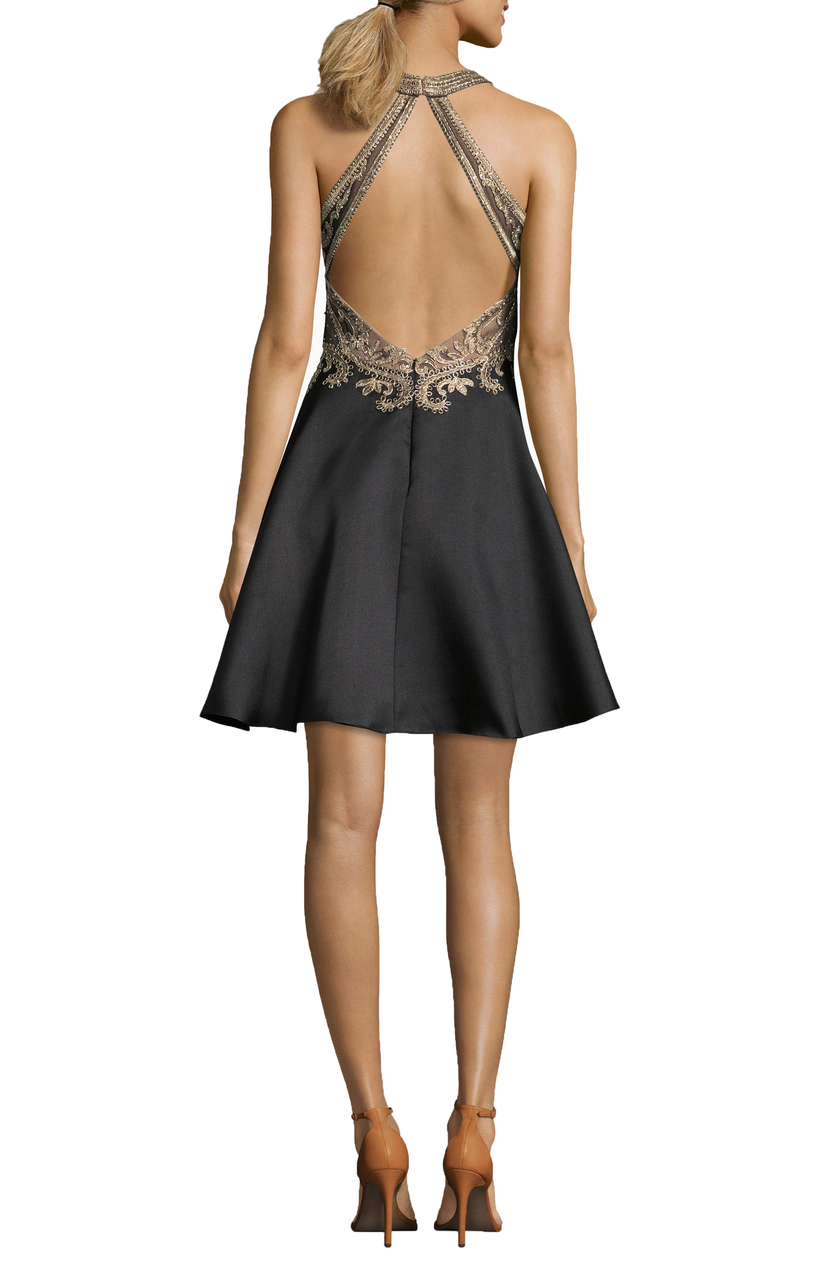 Embroidered Mikado Party Dress,                             Alternate thumbnail 2, color,                             BLACK/ GOLD