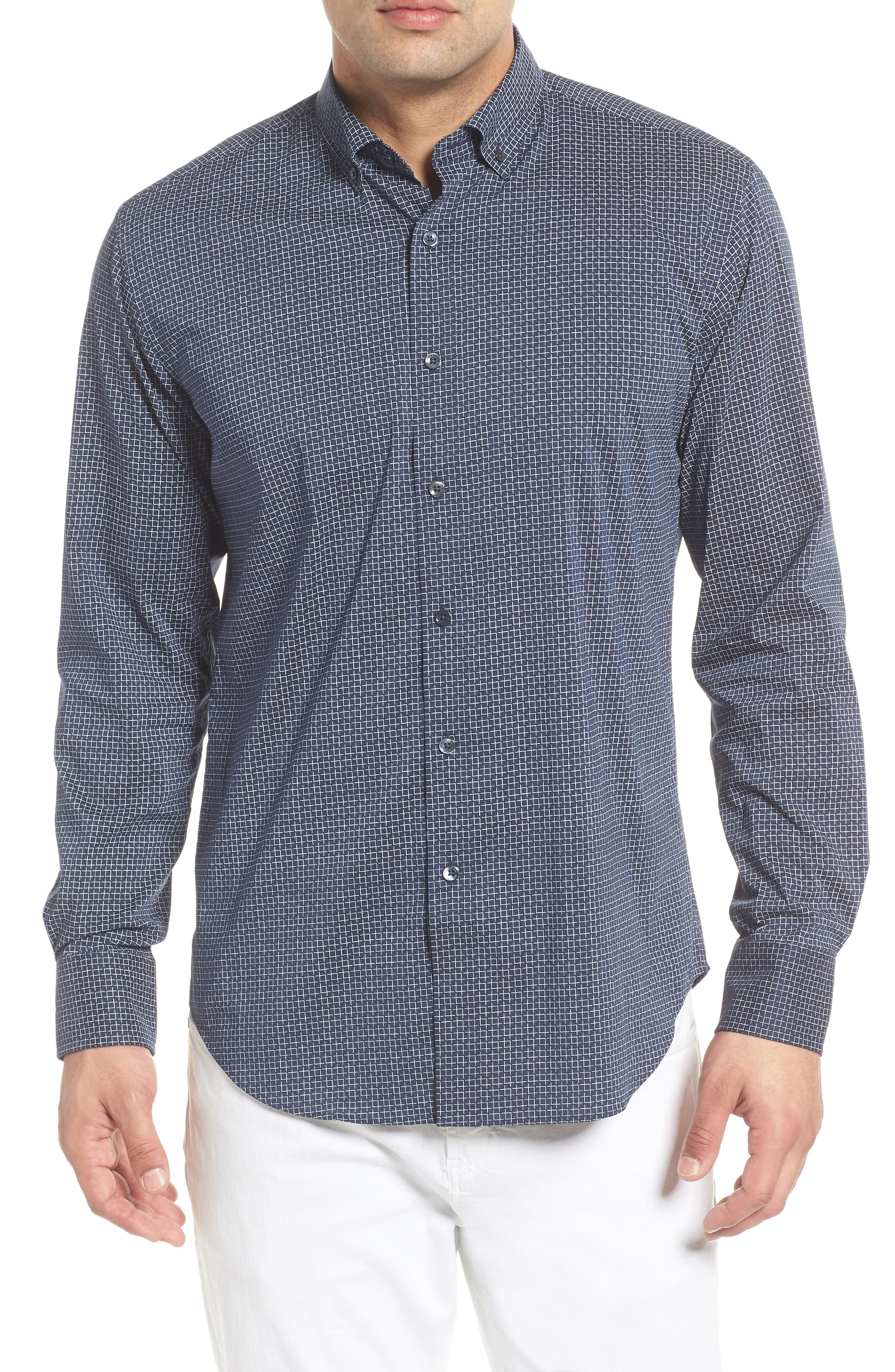 Shaped Fit Broken Grid Performance Sport Shirt,                         Main,                         color, NAVY