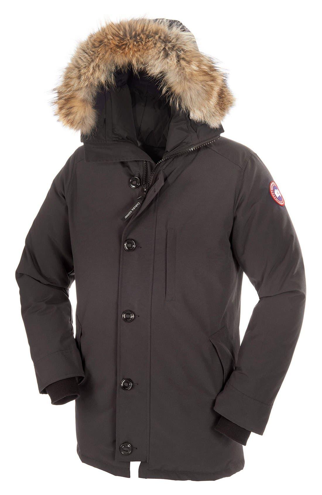 'Chateau' Slim Fit Genuine Coyote Fur Trim Jacket,                             Alternate thumbnail 5, color,                             021