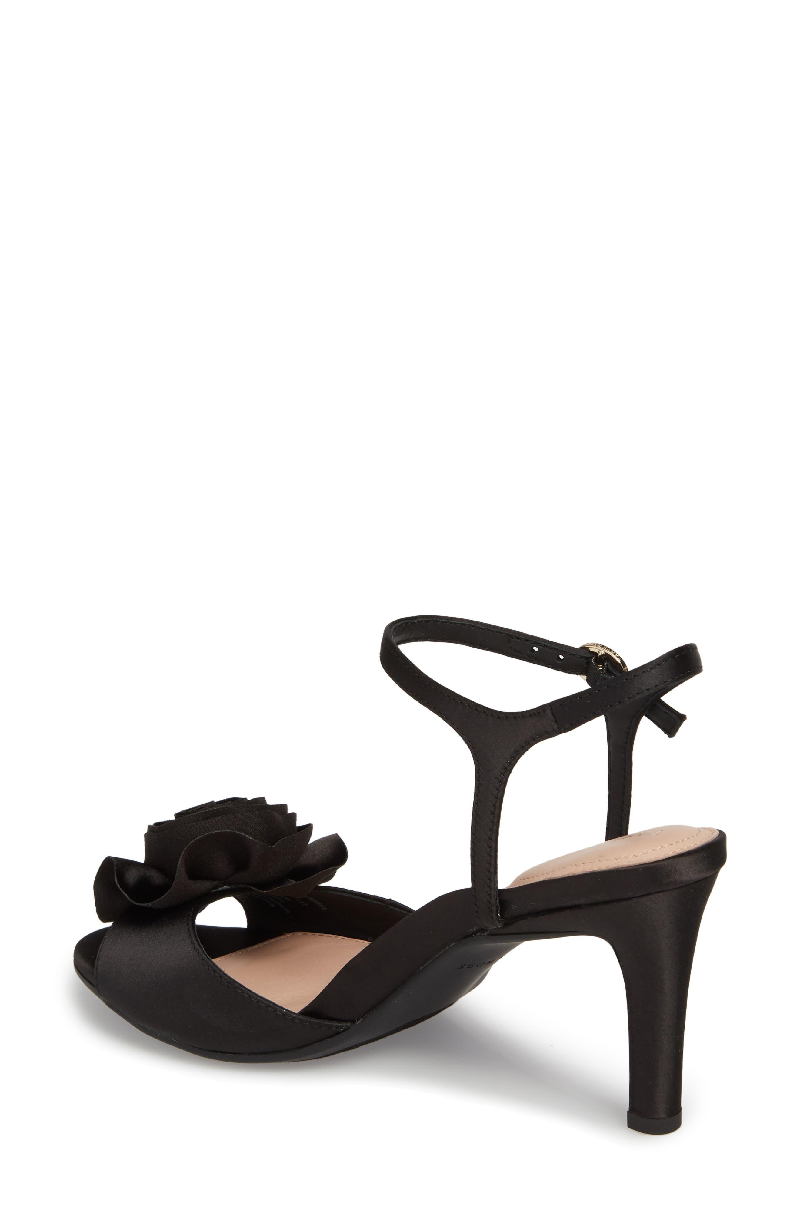 Jacklyn Flower Sandal,                             Alternate thumbnail 2, color,                             BLACK SHIMMER FABRIC