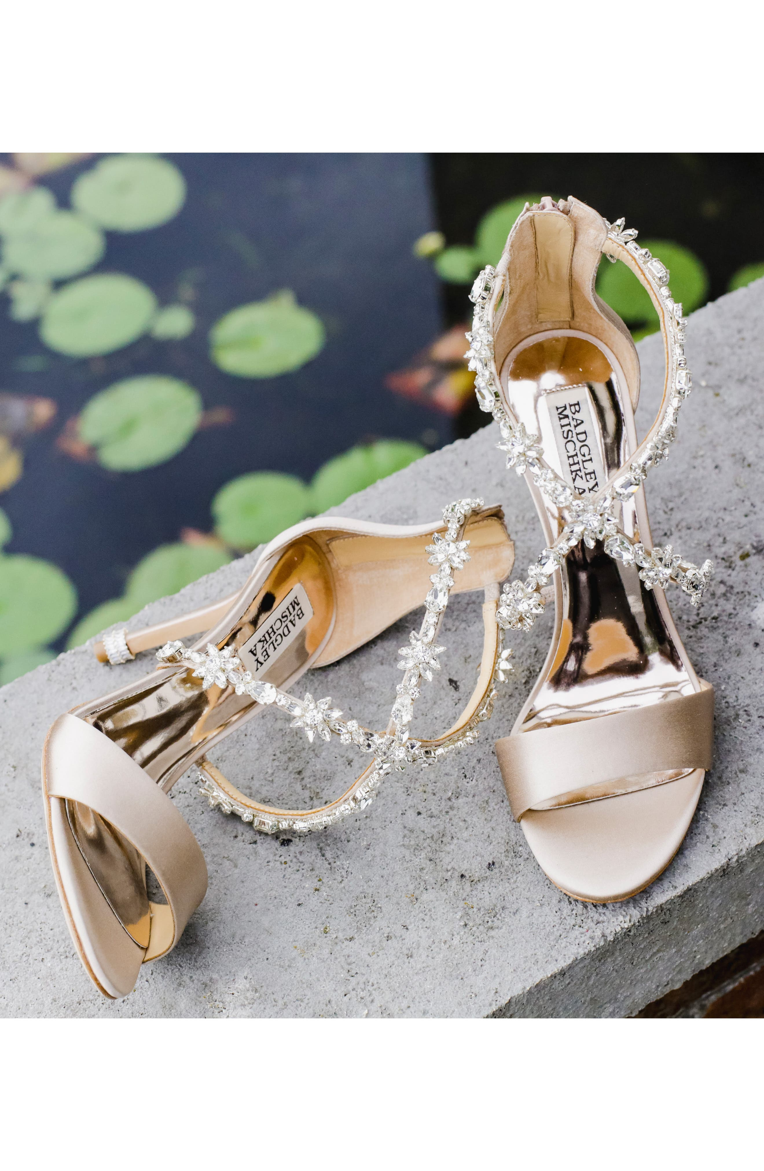 Crystal Embellished Sandal,                             Alternate thumbnail 8, color,                             SOFT WHITE SATIN