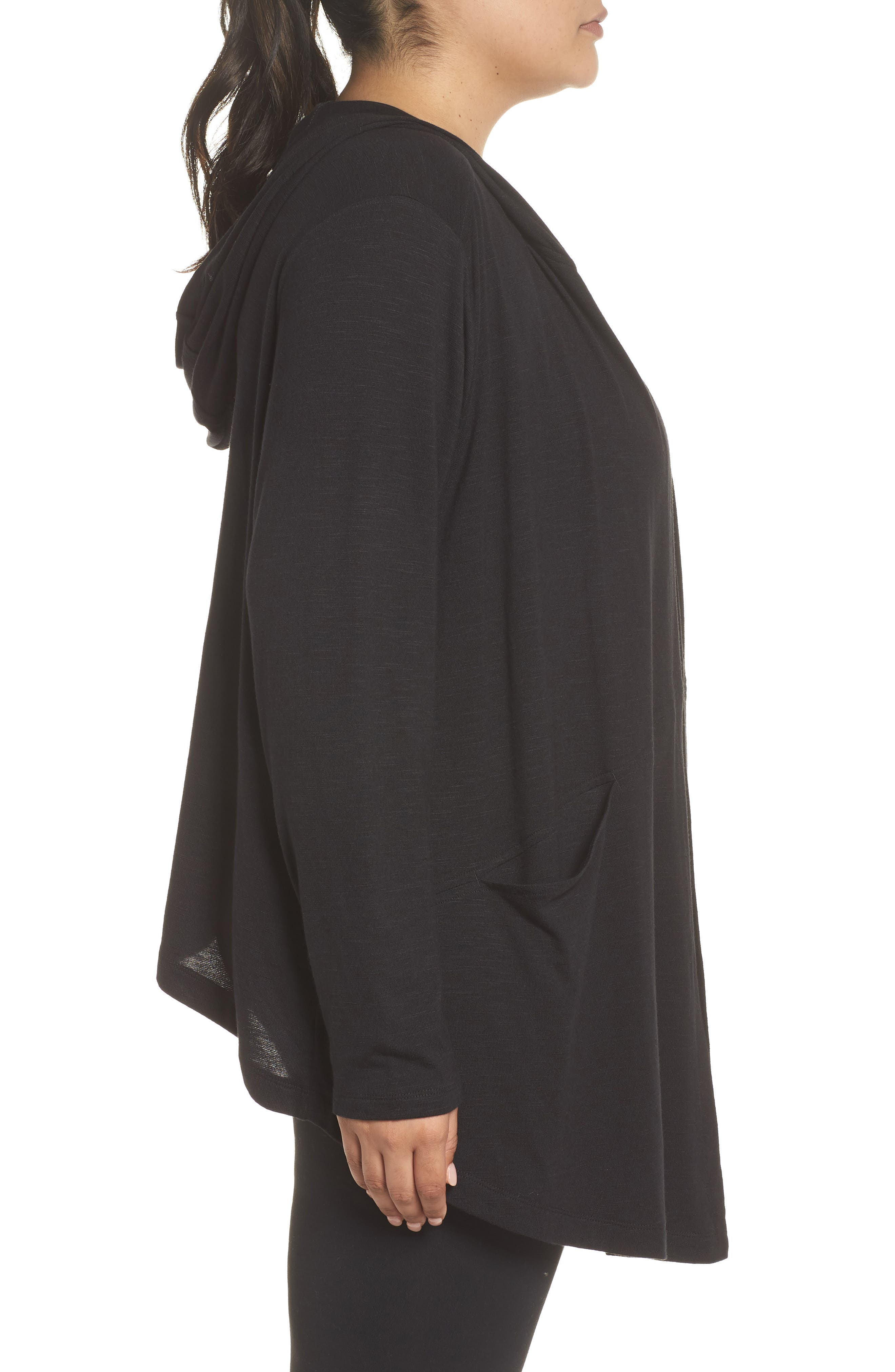 After Class Hooded Cardigan,                             Alternate thumbnail 3, color,                             BLACK