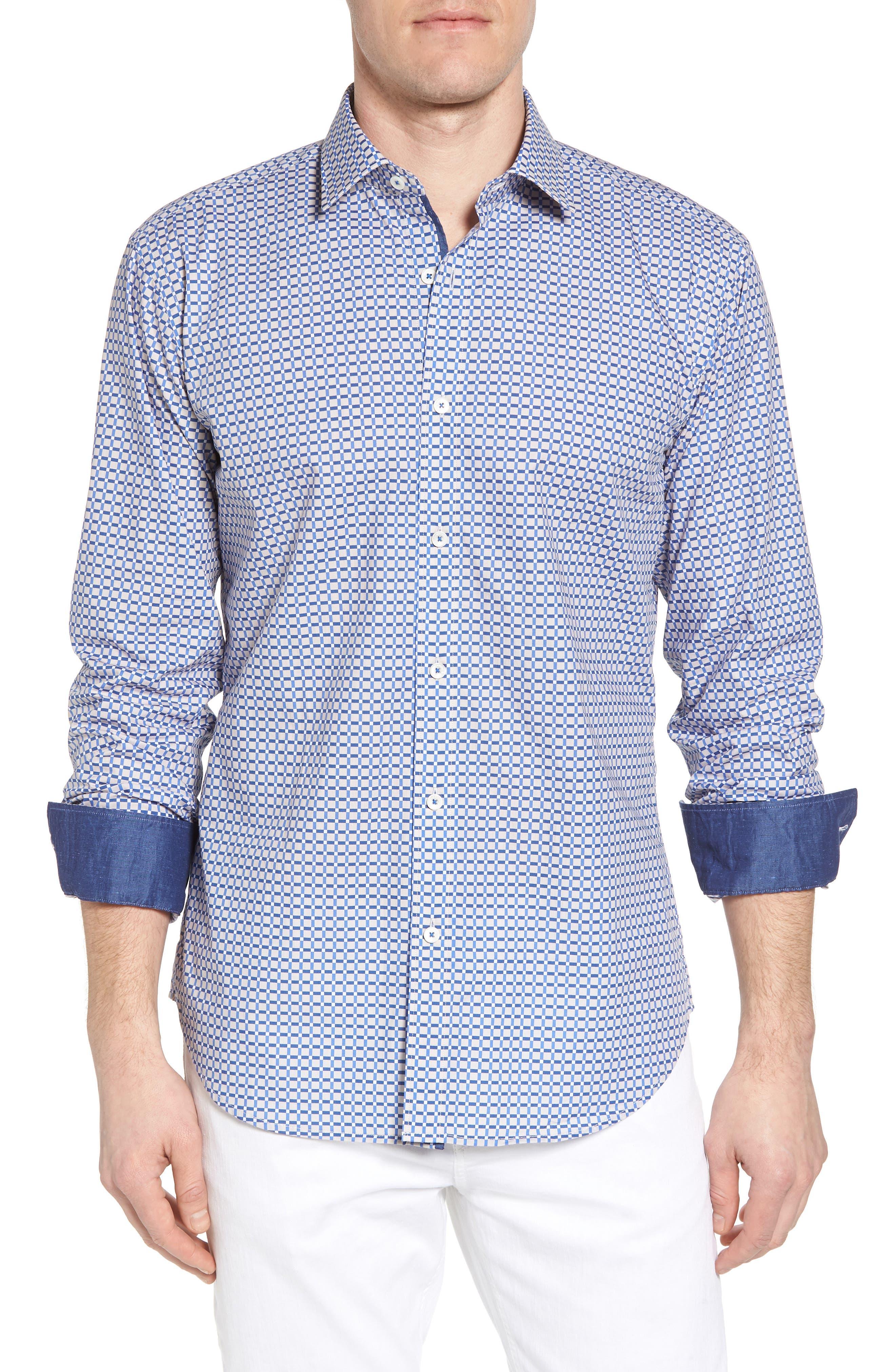 Shaped Fit Print Sport Shirt,                         Main,                         color, 104