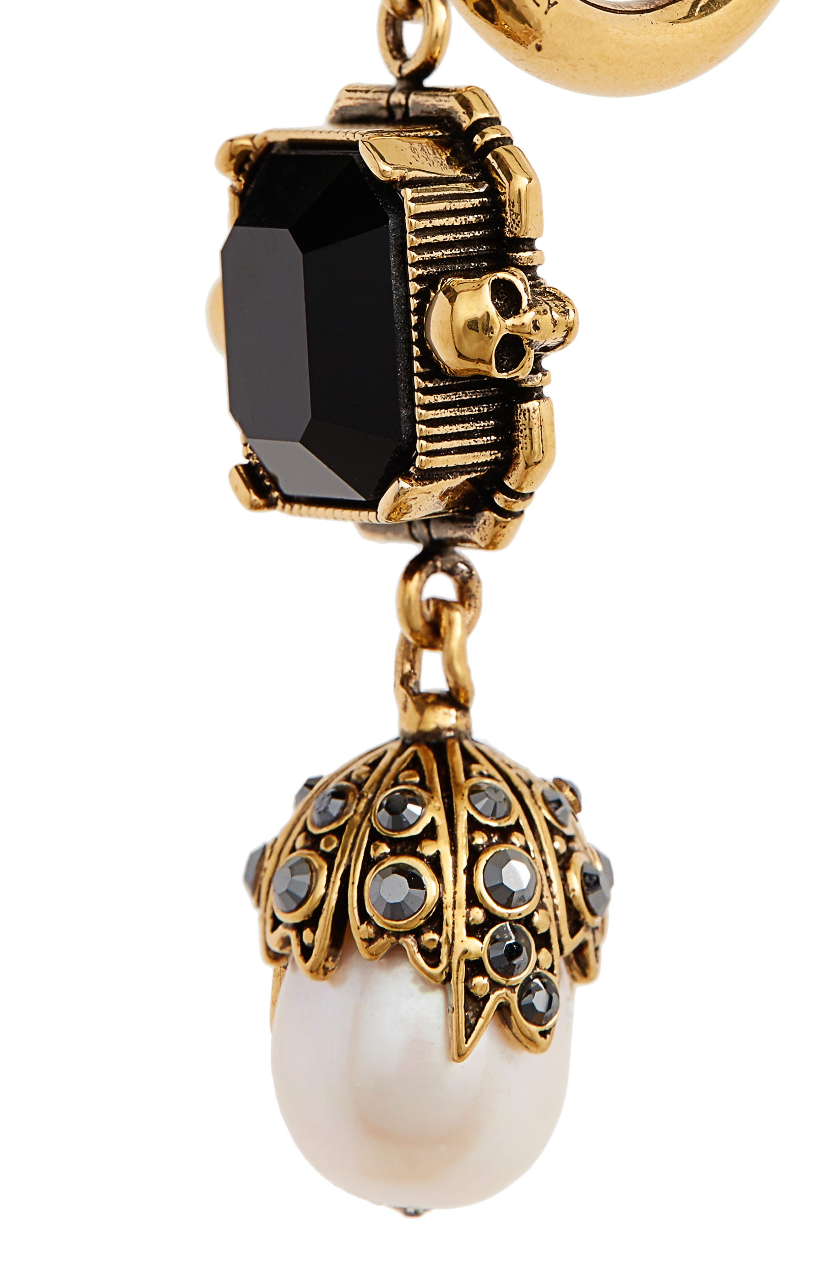 Pearl Drop Earrings,                             Alternate thumbnail 5, color,                             BLACK/ GOLD