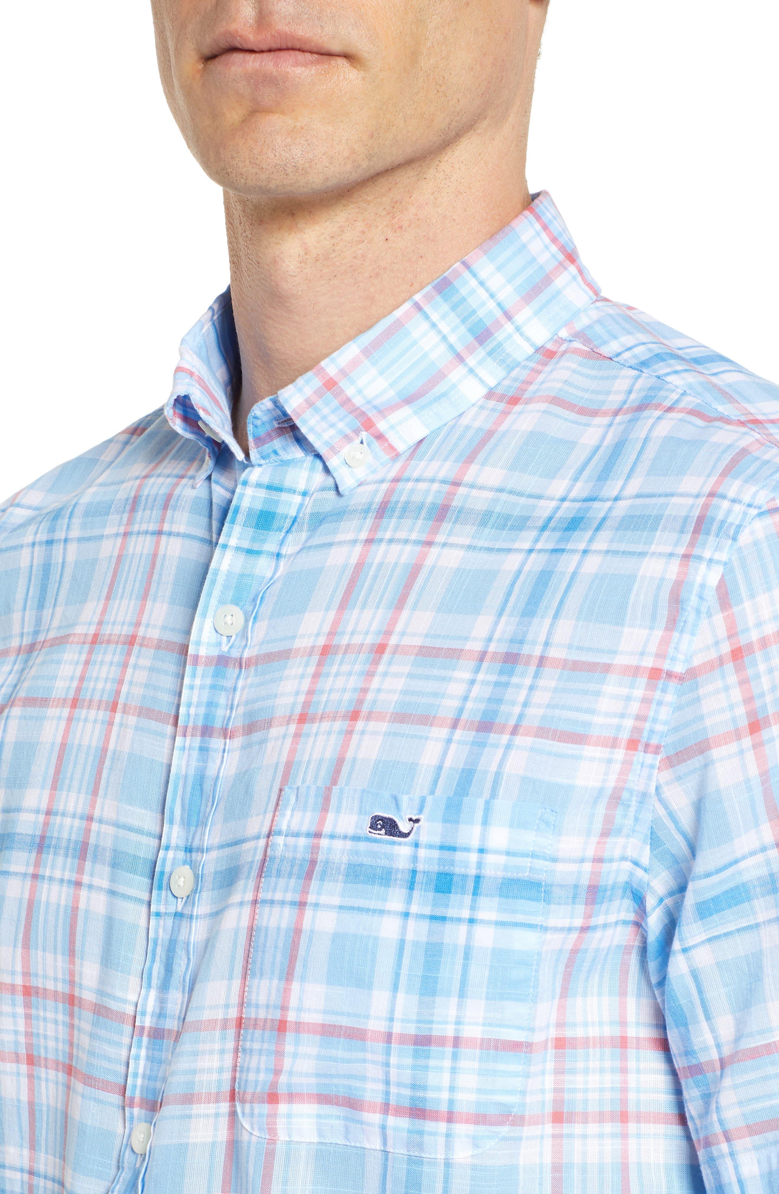 Fire Road Tucker Slim Fit Plaid Sport Shirt,                             Alternate thumbnail 4, color,                             484
