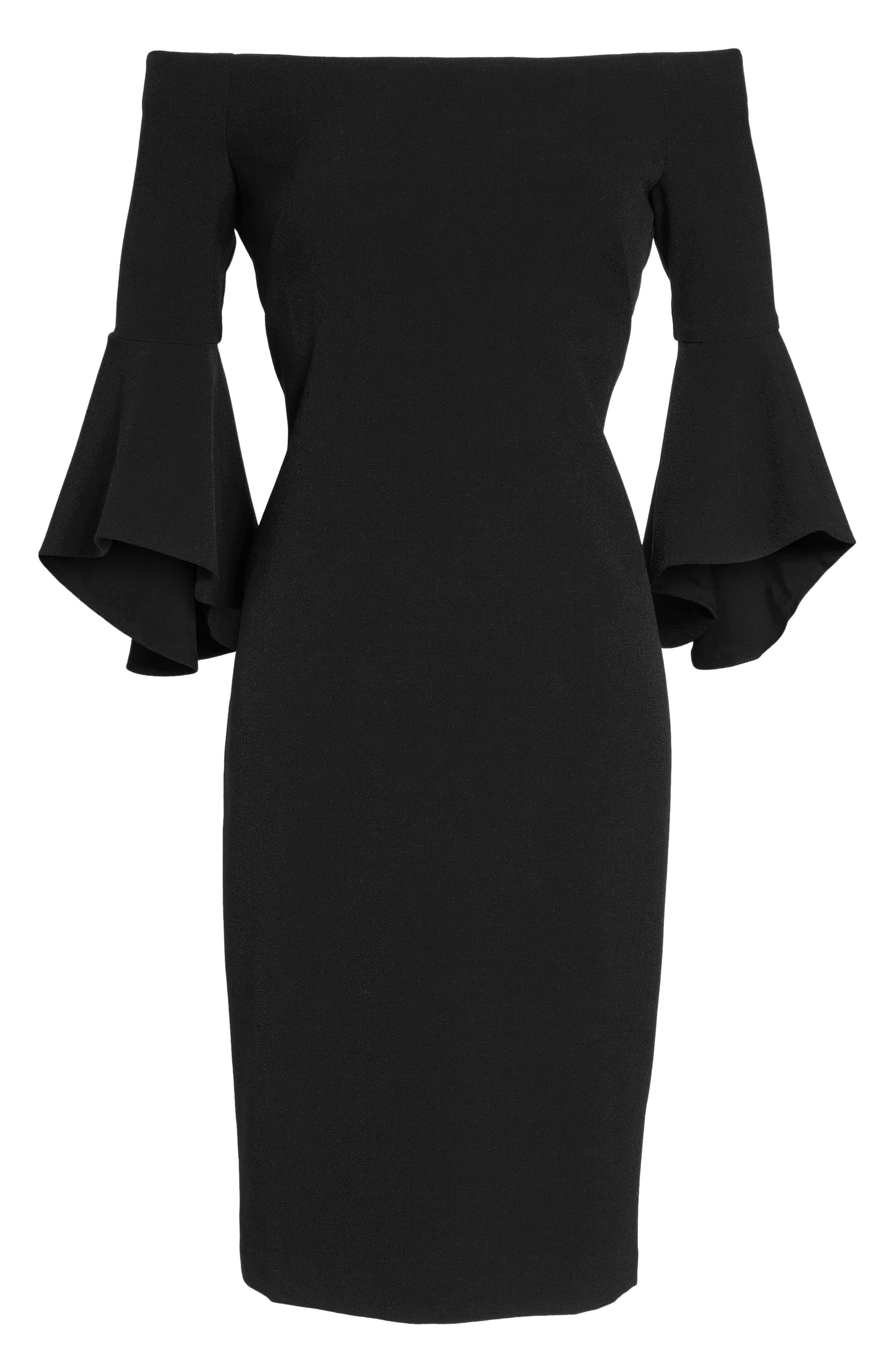 Off the Shoulder Dress,                             Alternate thumbnail 2, color,                             BLACK