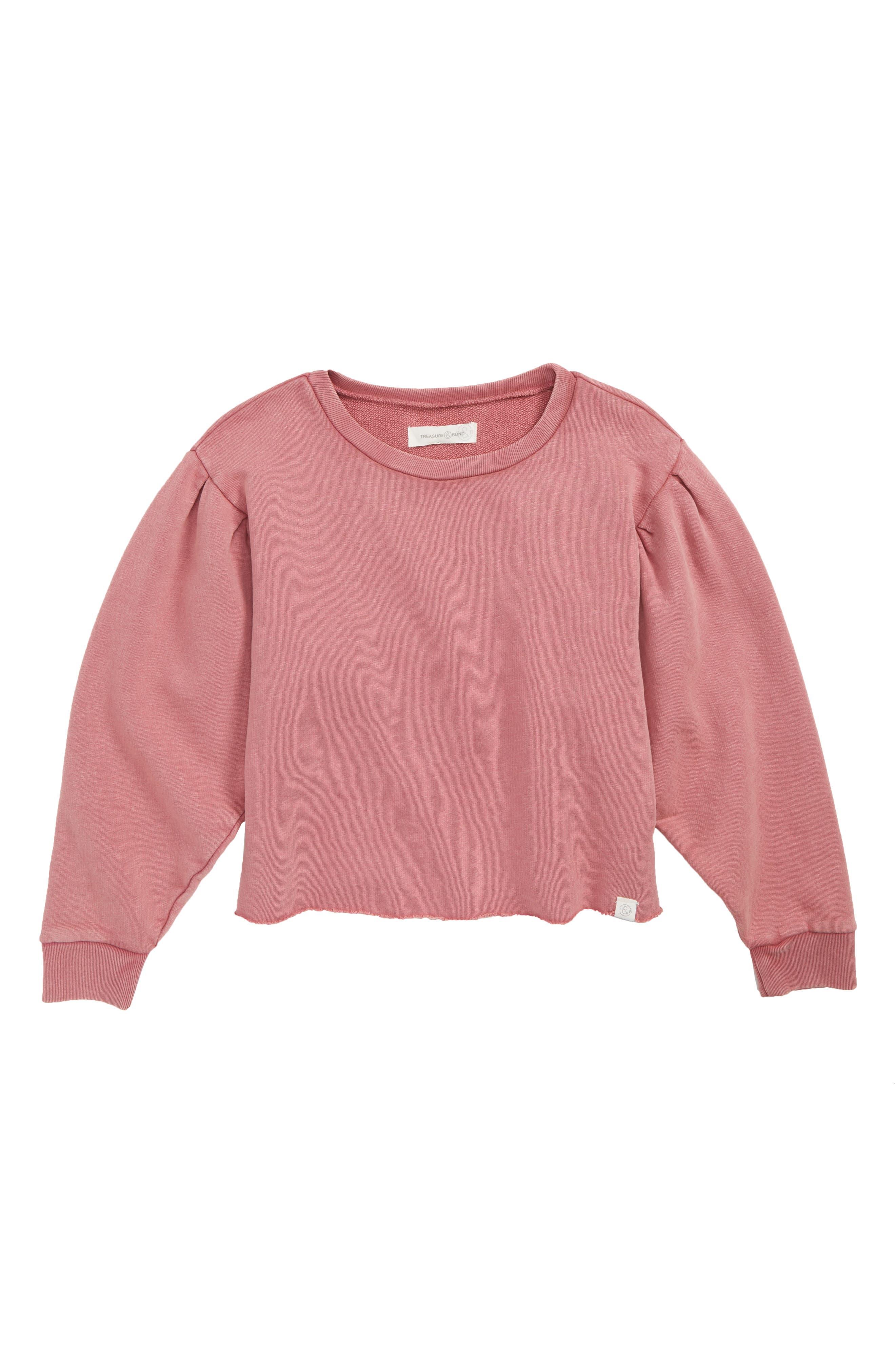 Bubble Sleeve Sweatshirt,                         Main,                         color, PINK DECO