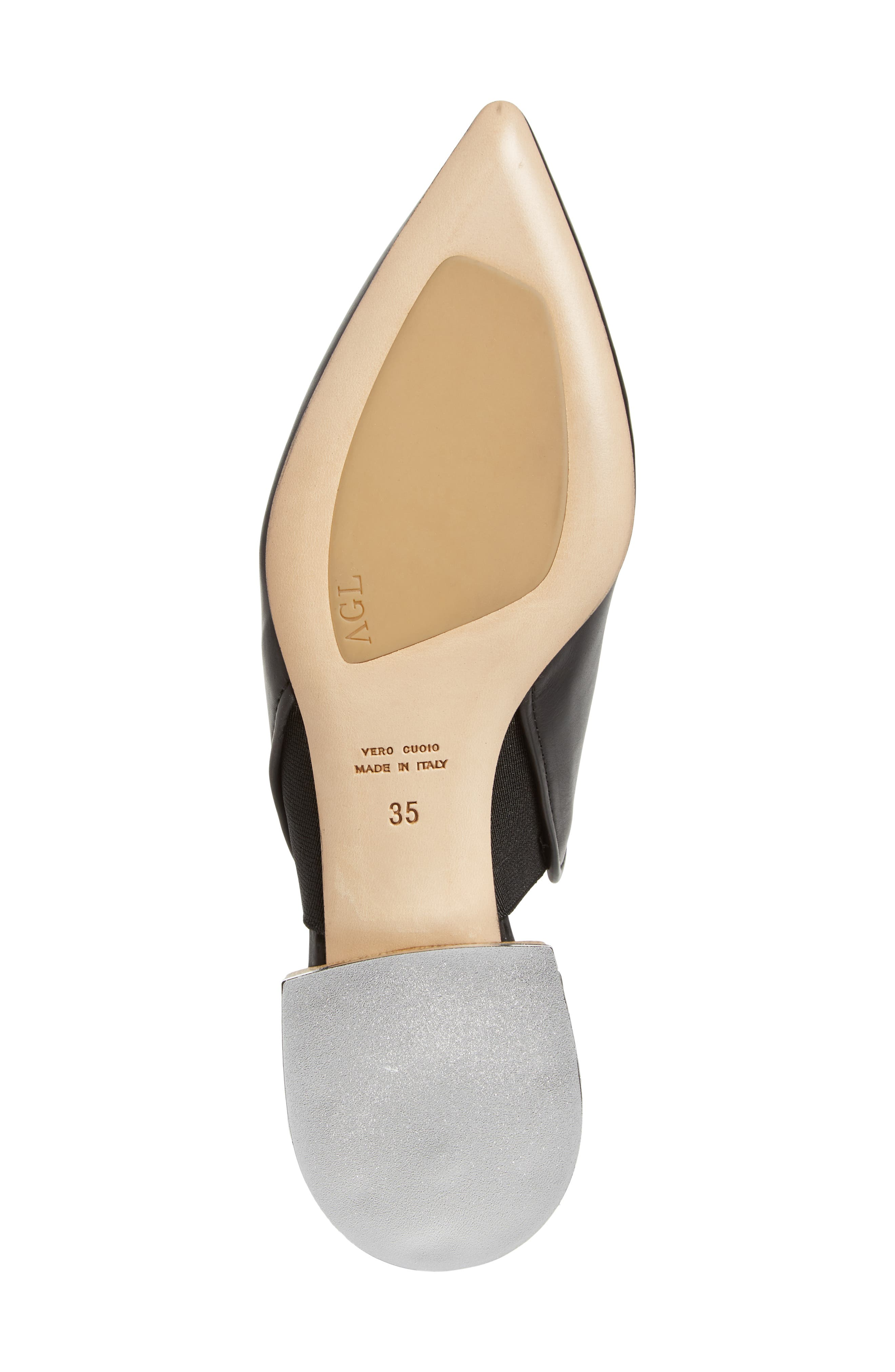 Pointed Toe Mule,                             Alternate thumbnail 6, color,                             BLACK LEATHER