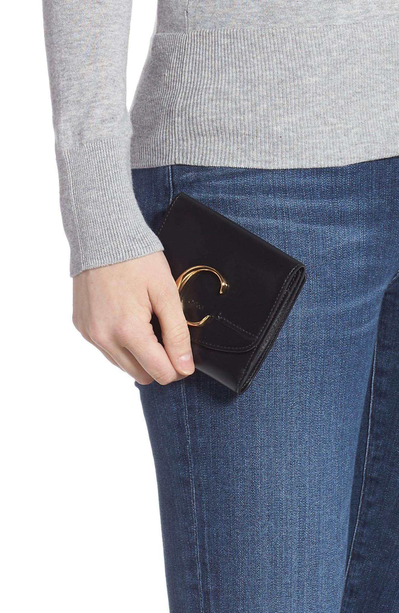 CHLOÉ,                             Square Leather Wallet,                             Alternate thumbnail 3, color,                             BLACK