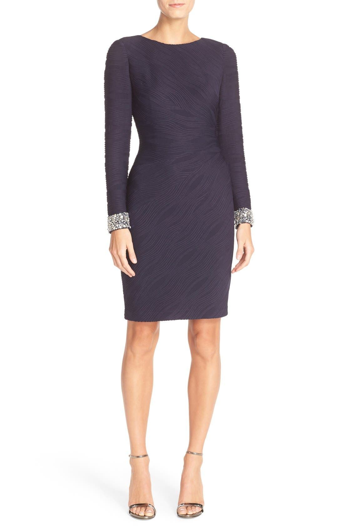 Beaded Cuffs Knit Sheath Dress,                         Main,                         color, 410