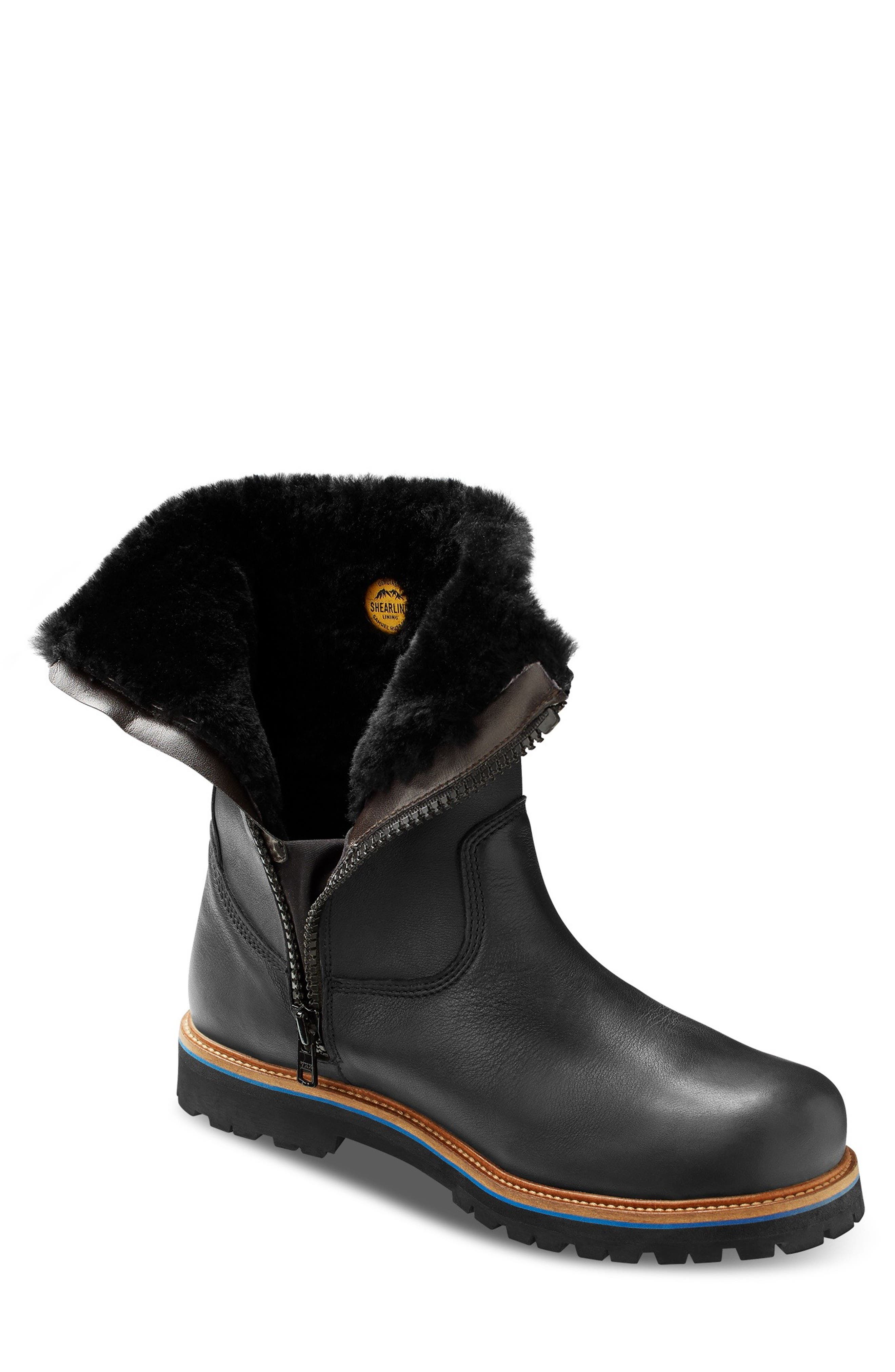Snow Lodge Waterproof Gore-Tex<sup>®</sup> Genuine Shearling Lined Boot,                             Alternate thumbnail 8, color,                             BLACK LEATHER