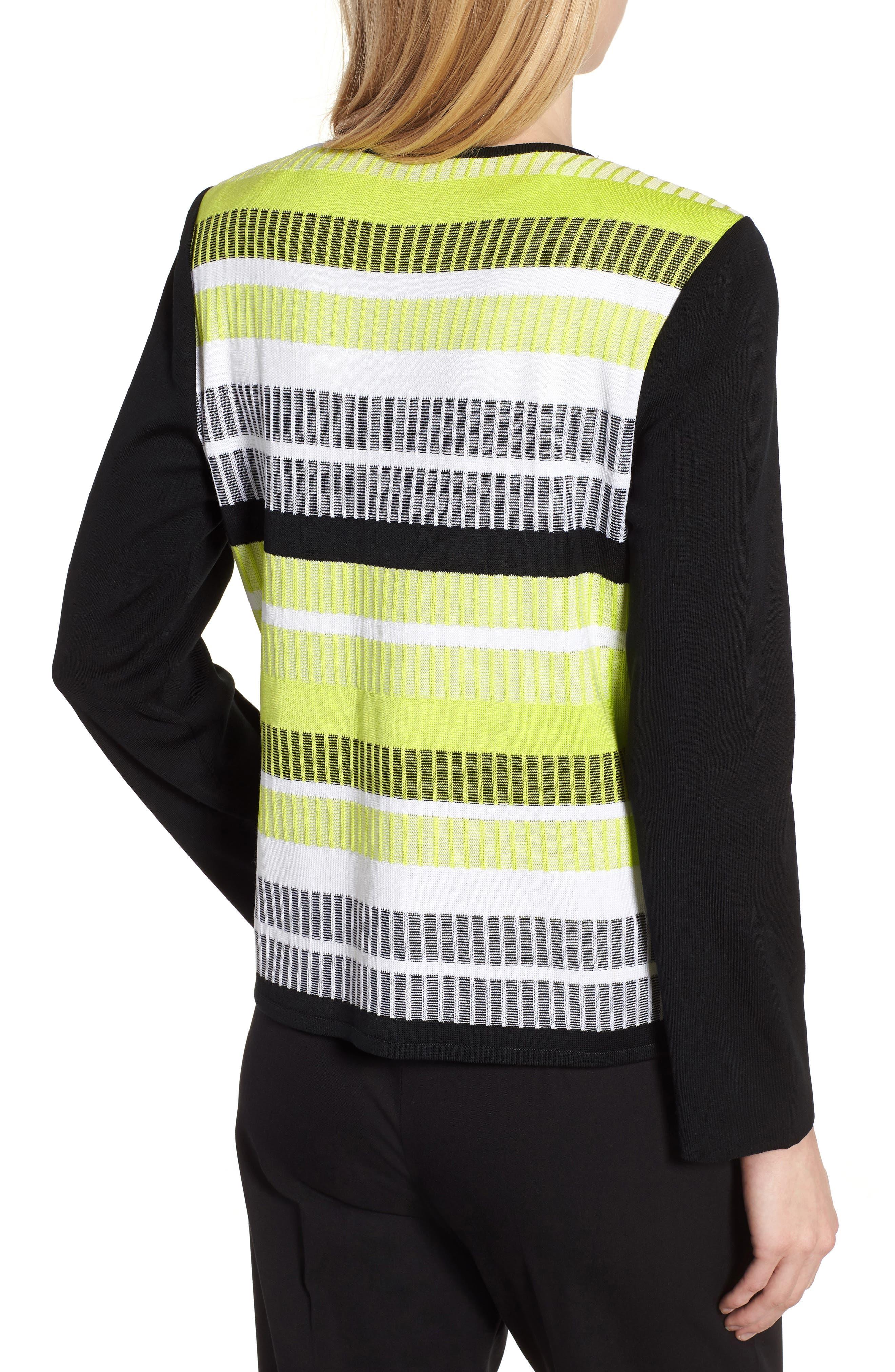 Long Sleeve Stripe Jacket,                             Alternate thumbnail 2, color,                             BLACK/ PEAR/ WHITE