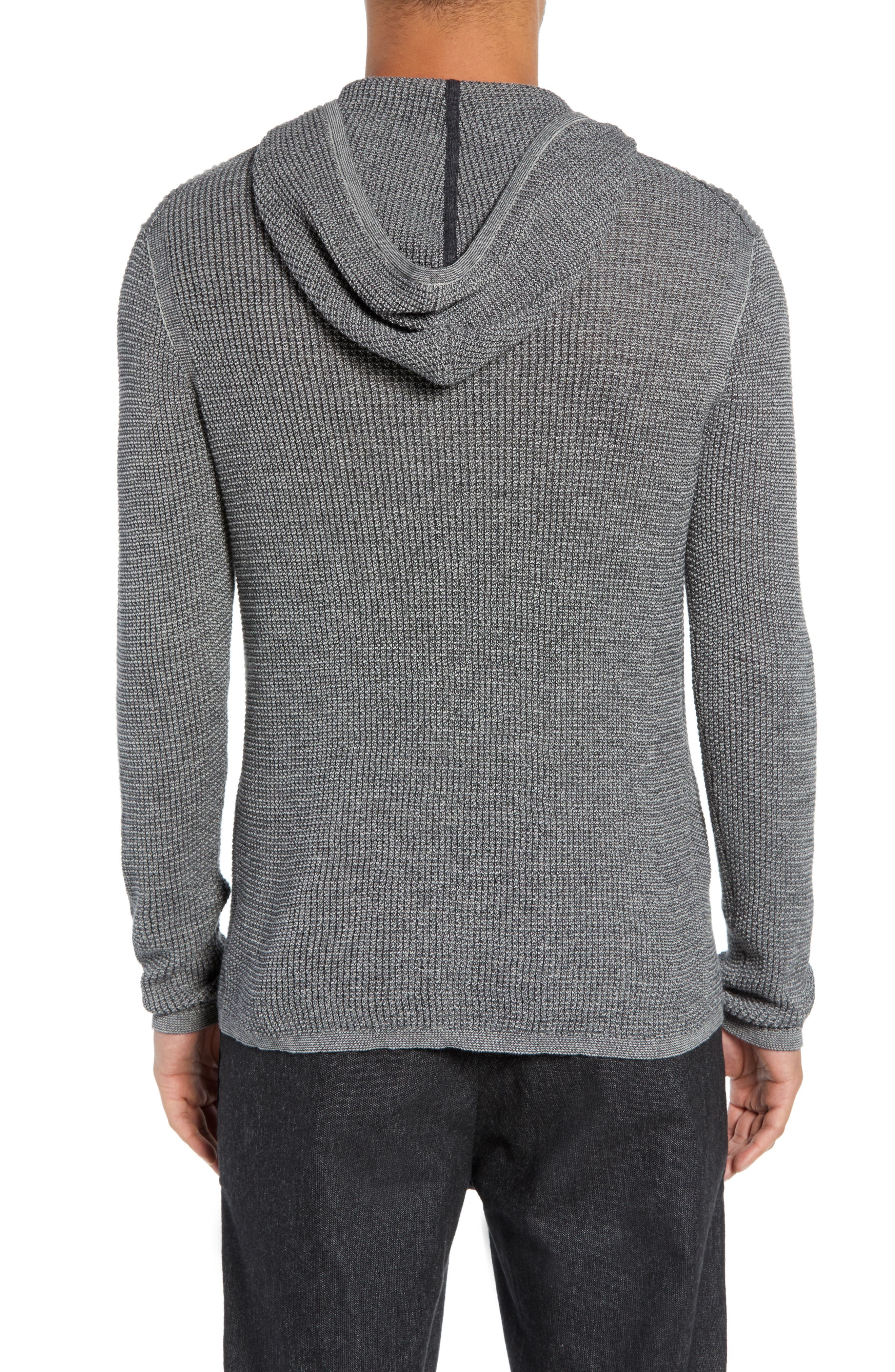 Thermal Hooded Sweater,                             Alternate thumbnail 2, color,                             CHARCOAL HEATHER