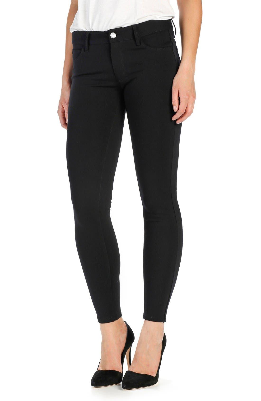 'Verdugo' Ponte Ankle Pants,                             Alternate thumbnail 3, color,                             BLACK