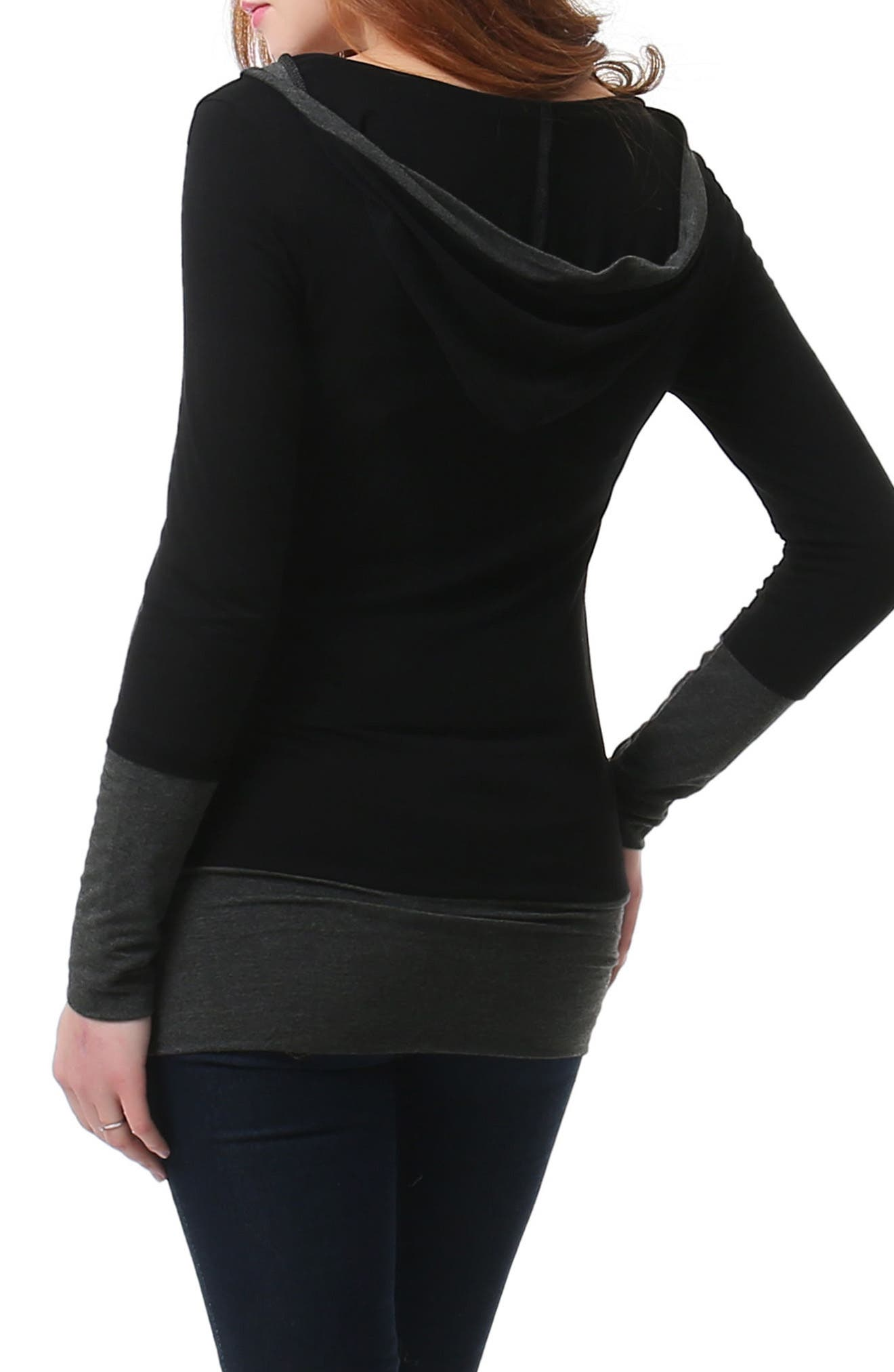 Willow Hooded Maternity Top,                             Alternate thumbnail 2, color,                             BLACK