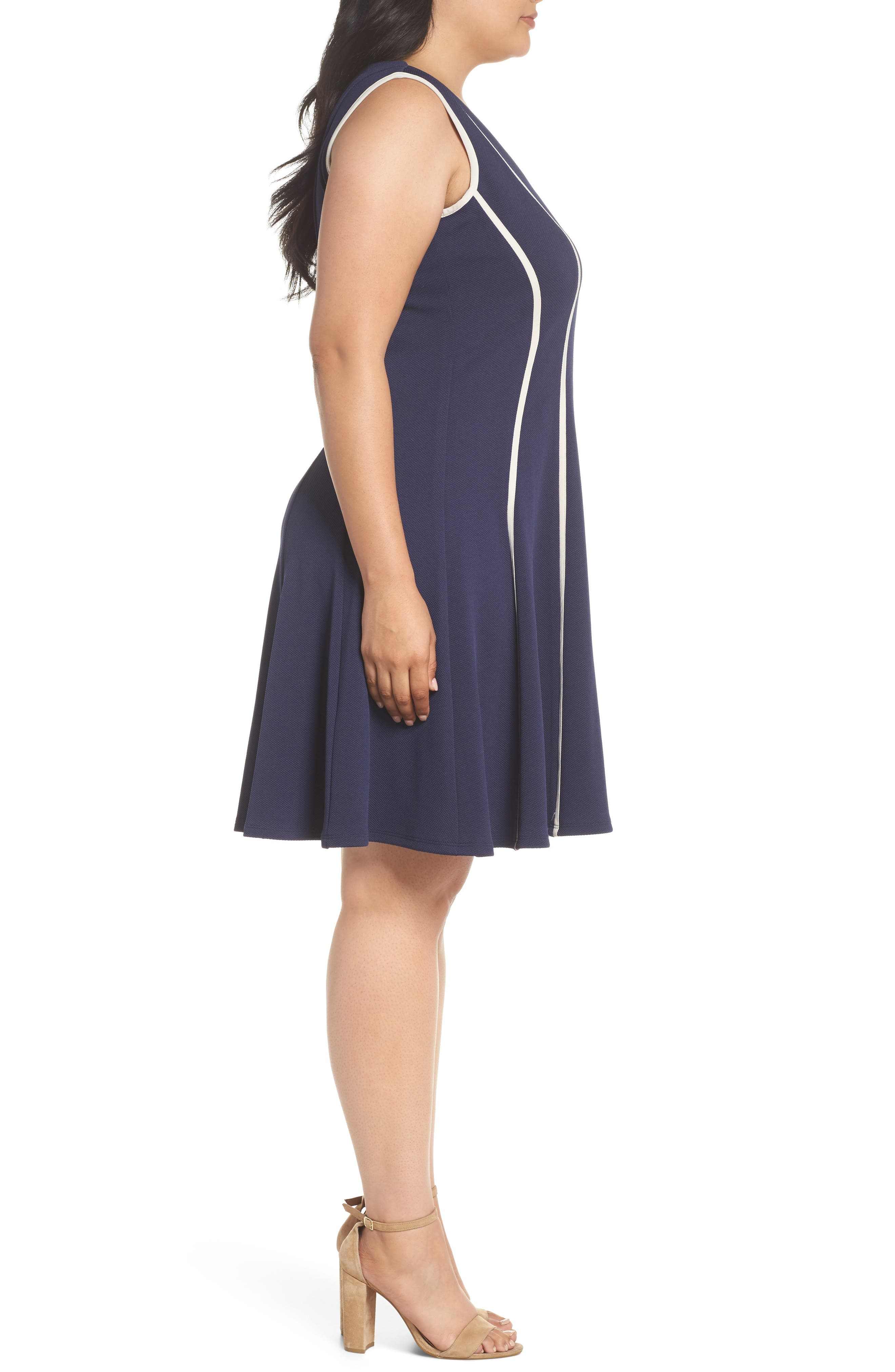 Piping Detail Fit & Flare Dress,                             Alternate thumbnail 3, color,                             410