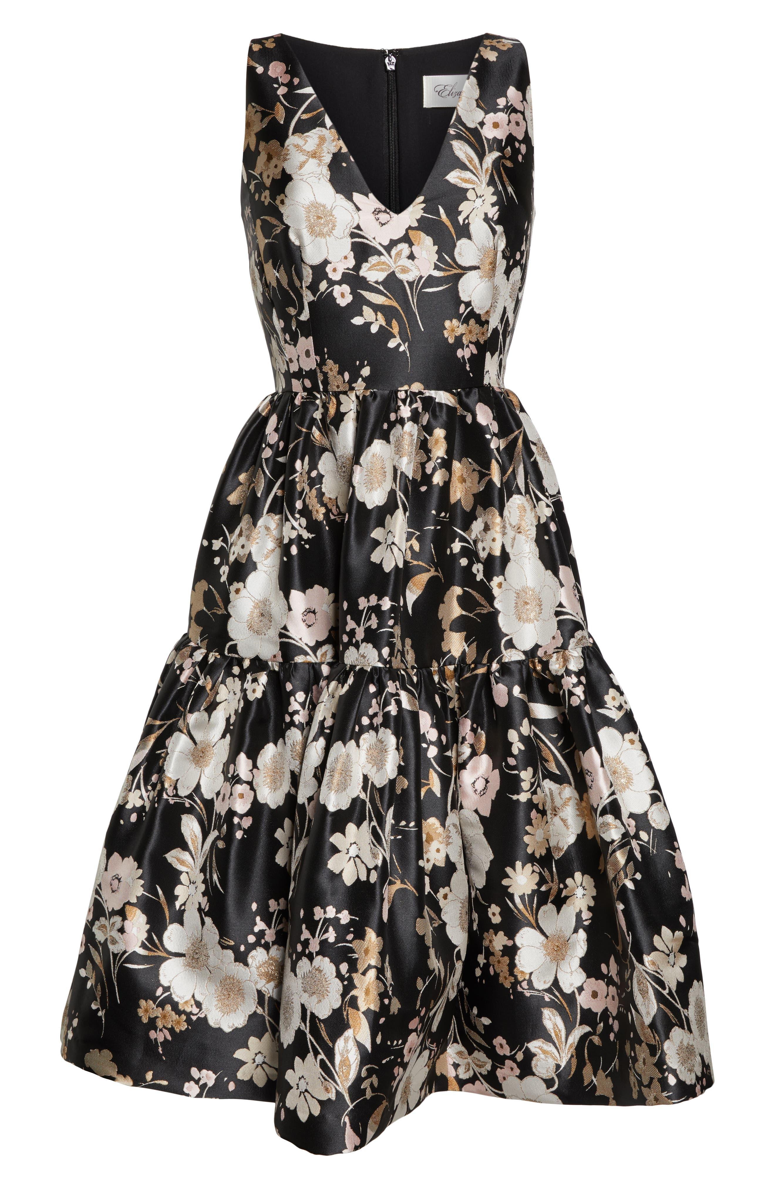 ELIZA J,                             Floral Jacquard Fit & Flare Dress,                             Alternate thumbnail 7, color,                             BLACK WHITE