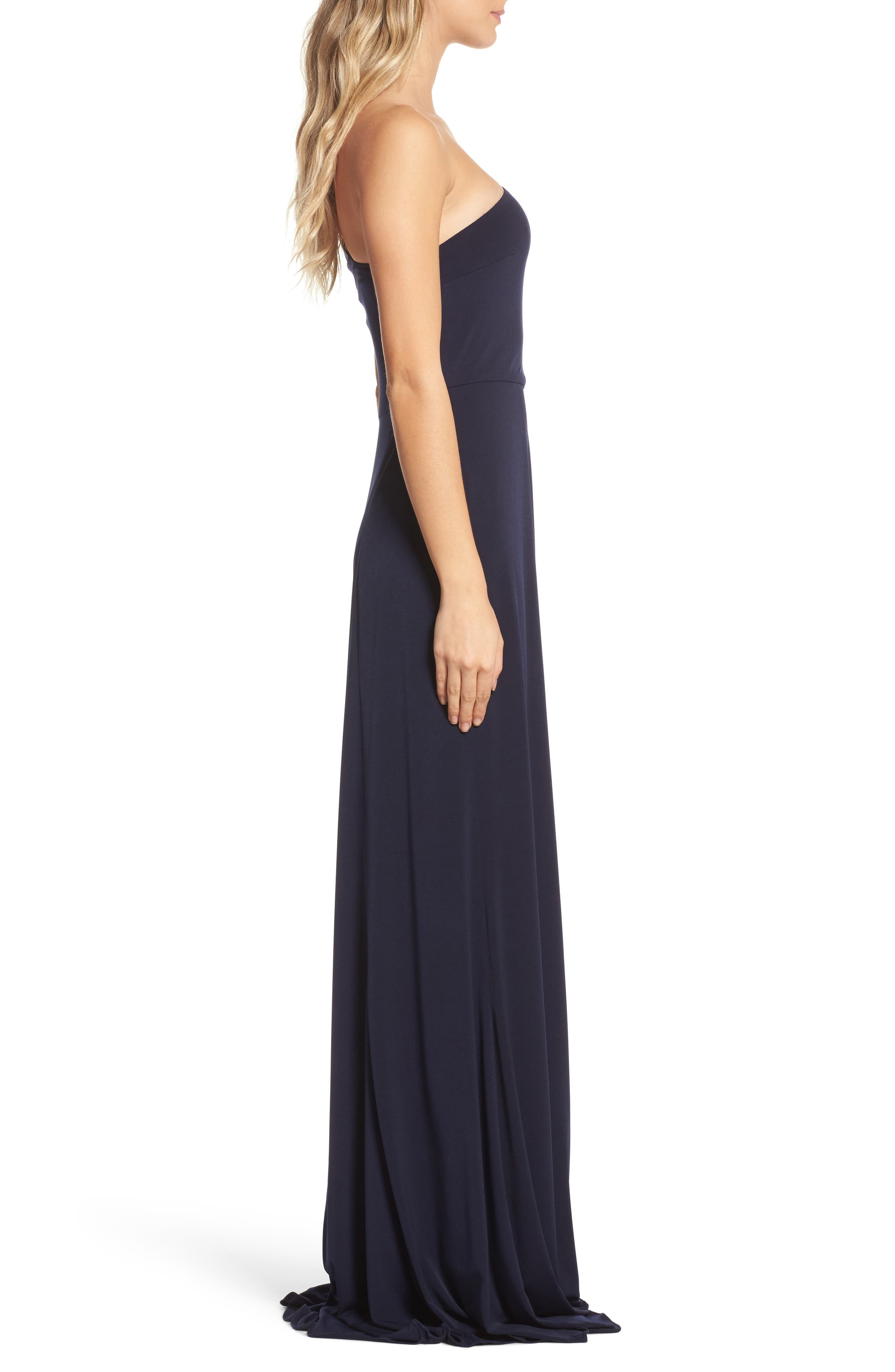 Jersey One-Shoulder Gown,                             Alternate thumbnail 3, color,                             410