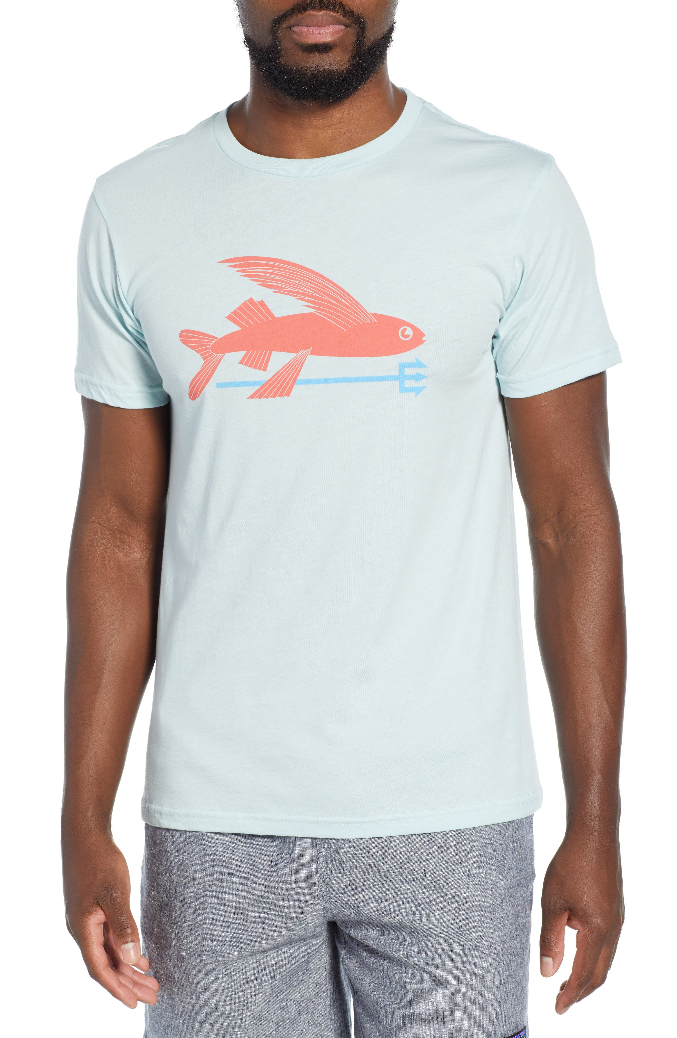 Patagonia Flying Fish Organic Cotton T-Shirt, Blue