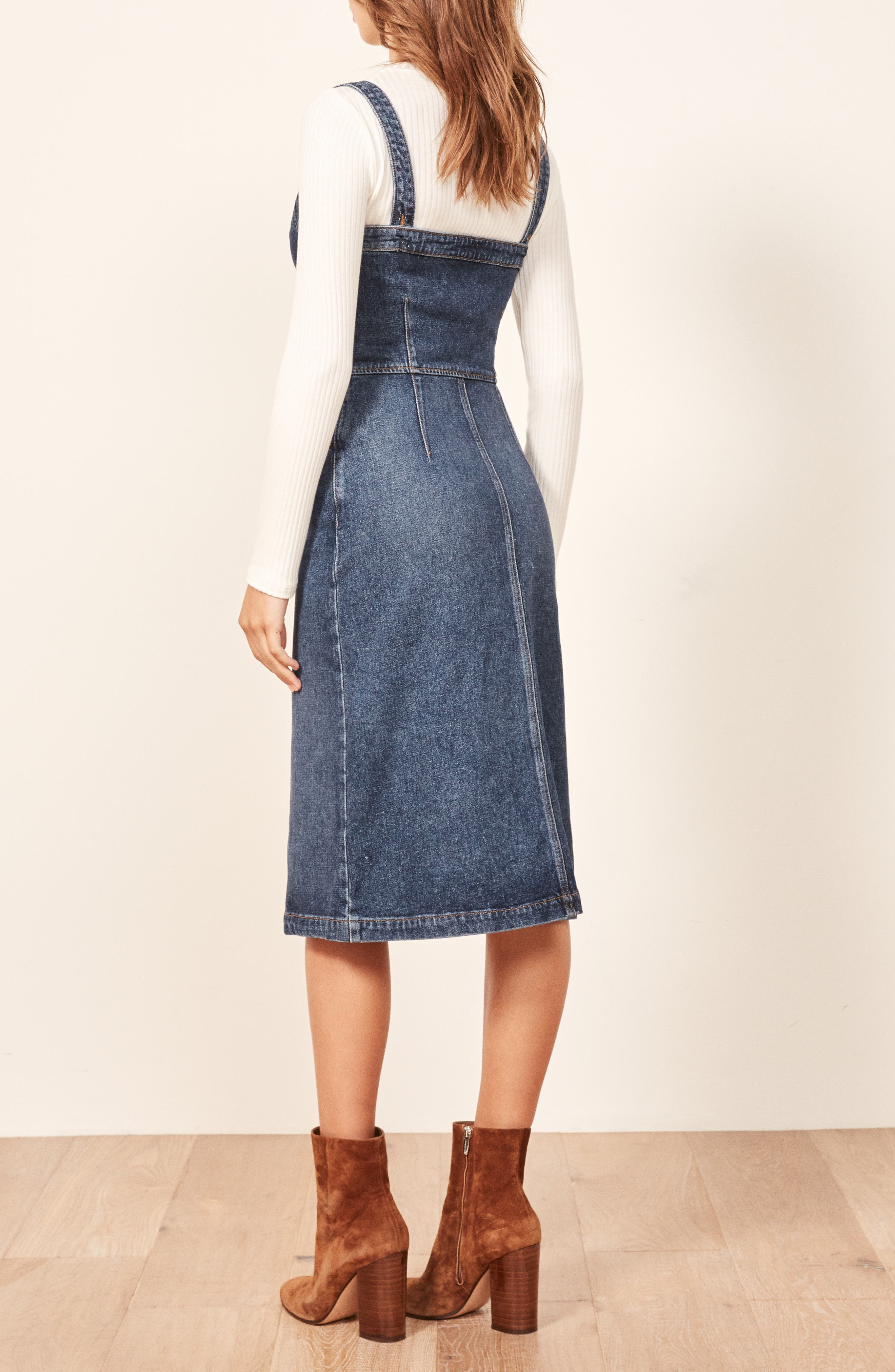 Camille Denim Overall Dress,                             Alternate thumbnail 3, color,                             KASAI