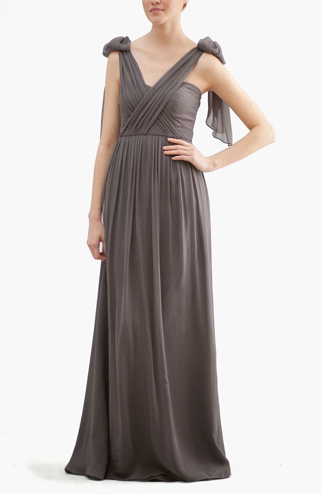 Aidan Convertible Strapless Chiffon Gown,                             Alternate thumbnail 4, color,                             020