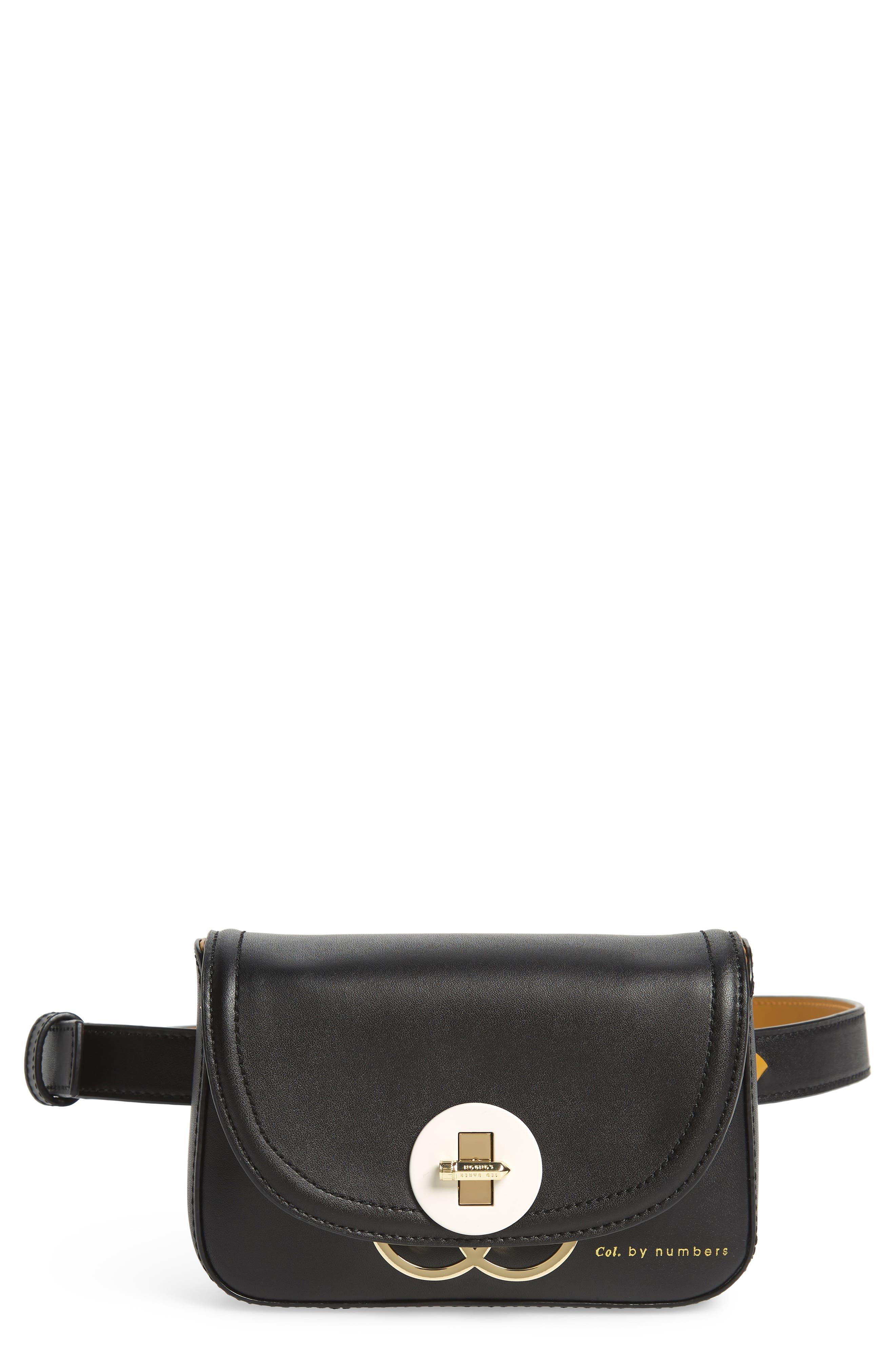 TED BAKER LONDON Colour by Numbers Krakan Leather Belt Bag, Main, color, BLACK