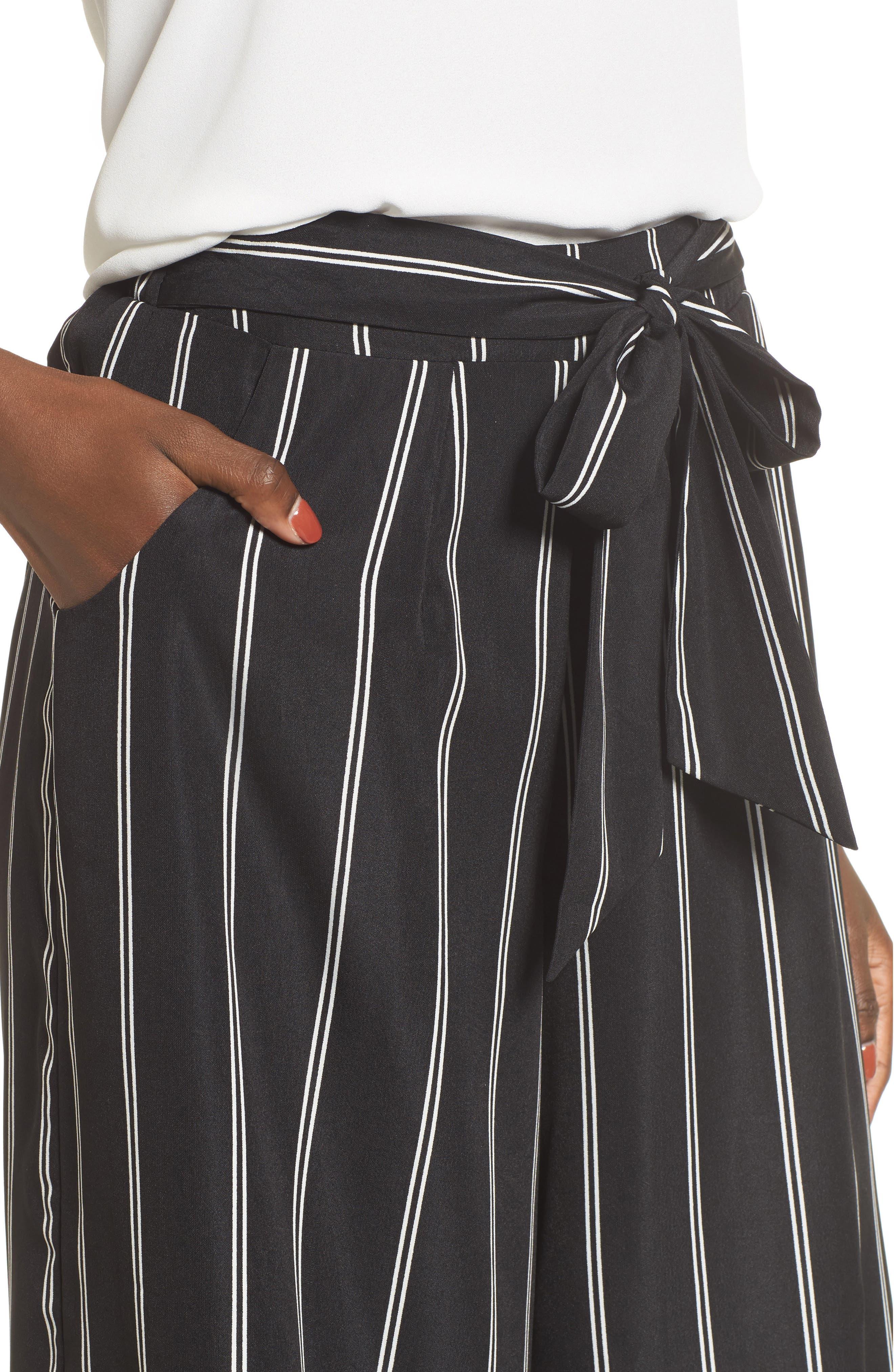 Stripe Tie Front Crop Pants,                             Alternate thumbnail 4, color,                             001