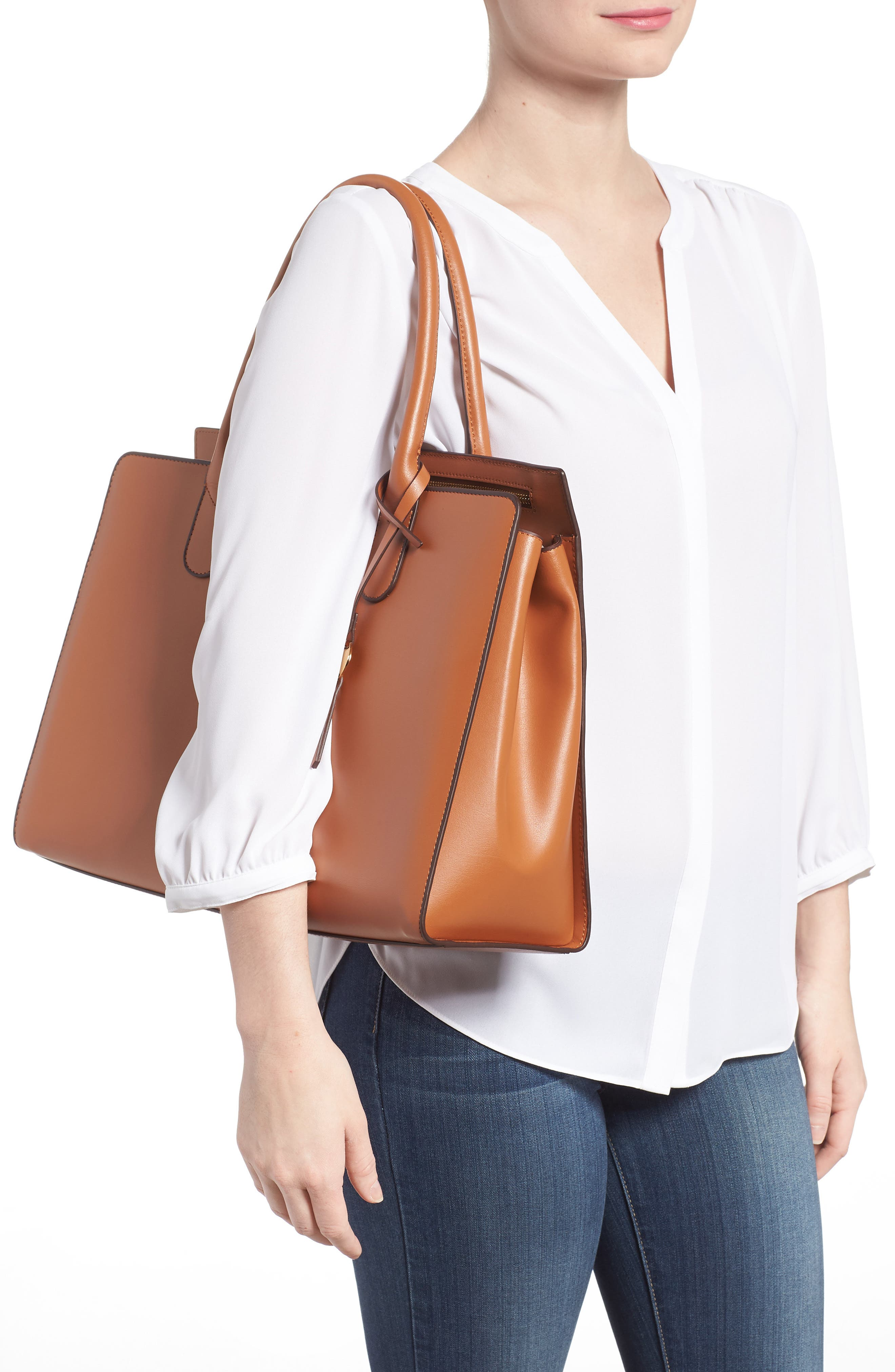 Rodeo Under Lock & Key – Gwyneth RFID Leather Tote,                             Alternate thumbnail 2, color,                             TOFFEE
