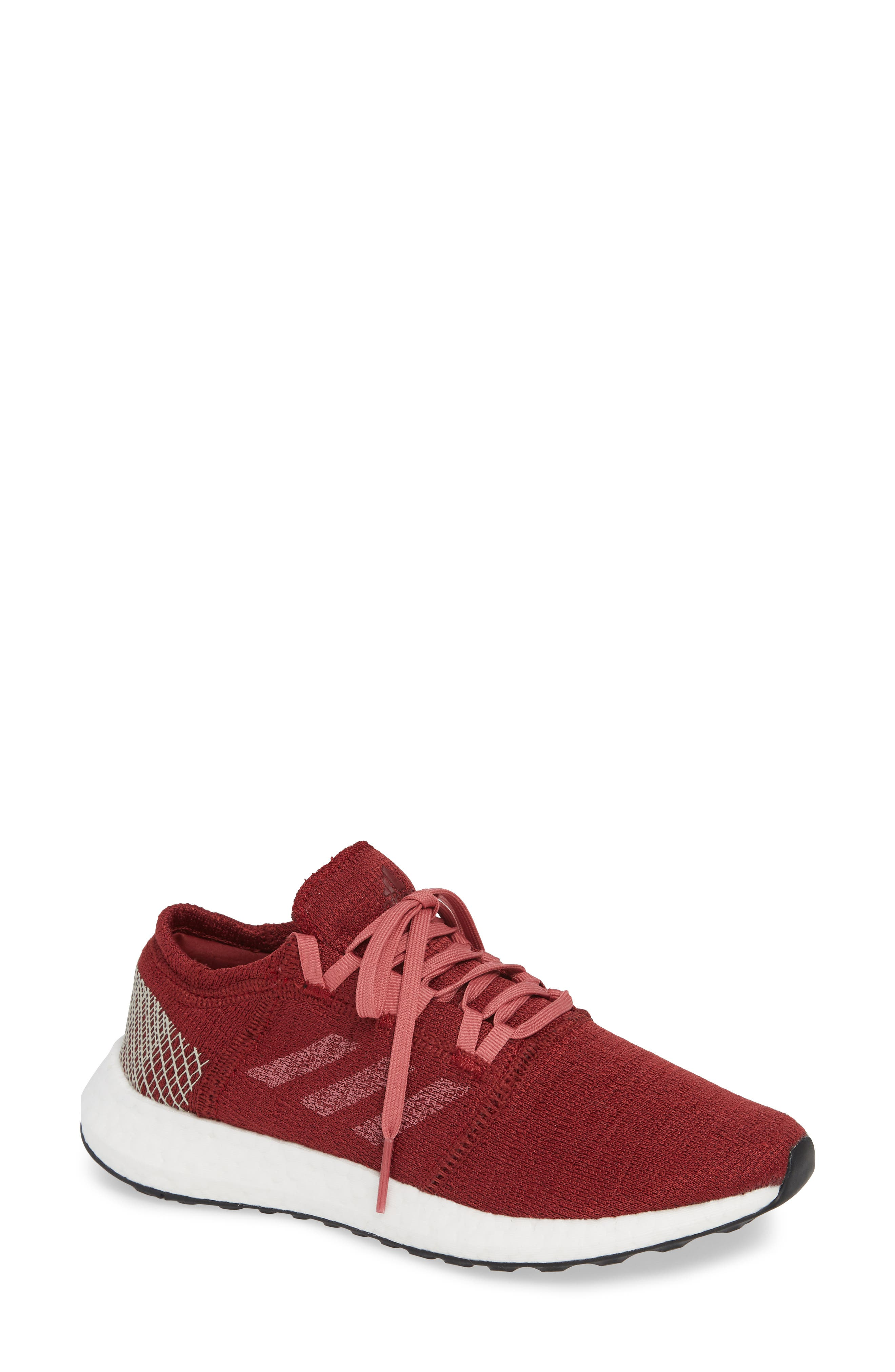 PureBoost X Element Knit Running Shoe,                             Main thumbnail 1, color,                             NOBLE MAROON/ MAROON/ BROWN