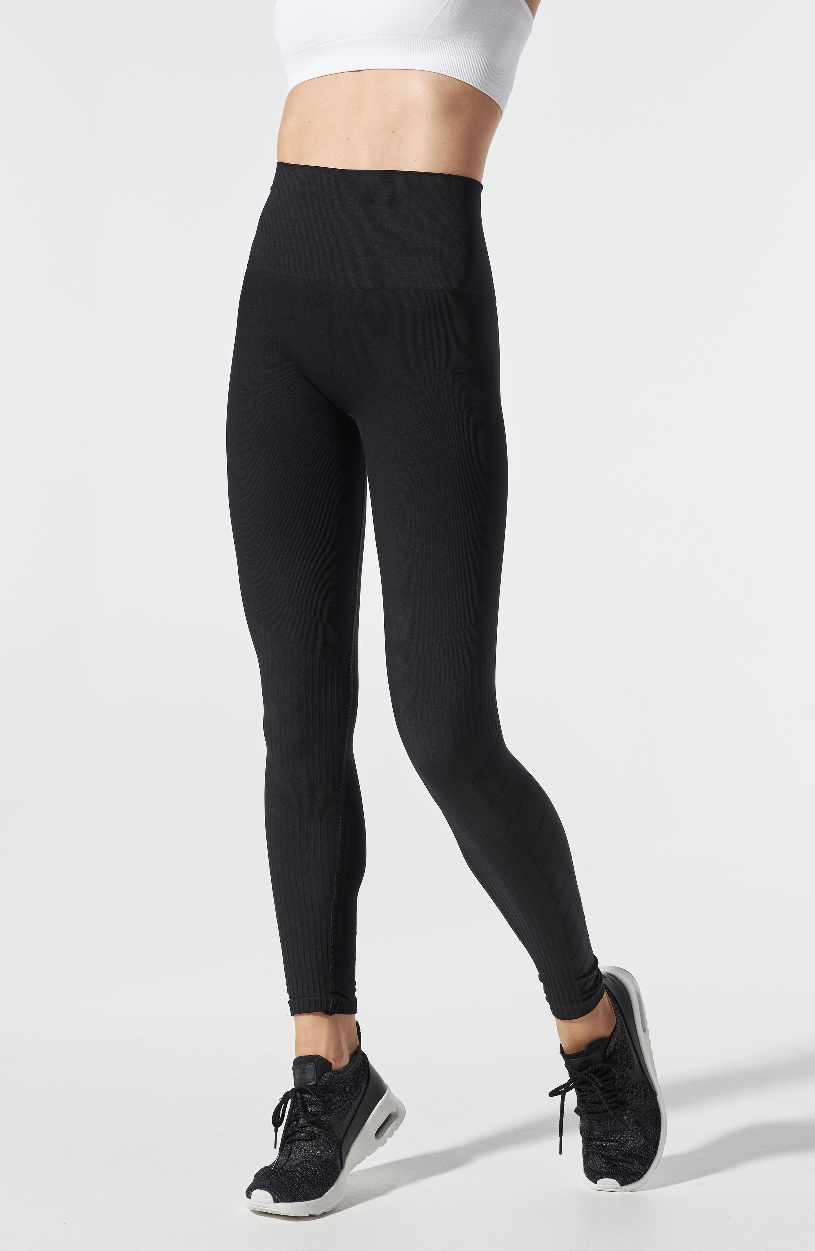 SportSupport<sup>®</sup> Hipster Contour Support Maternity/Postpartum Leggings,                             Alternate thumbnail 4, color,                             BLACK