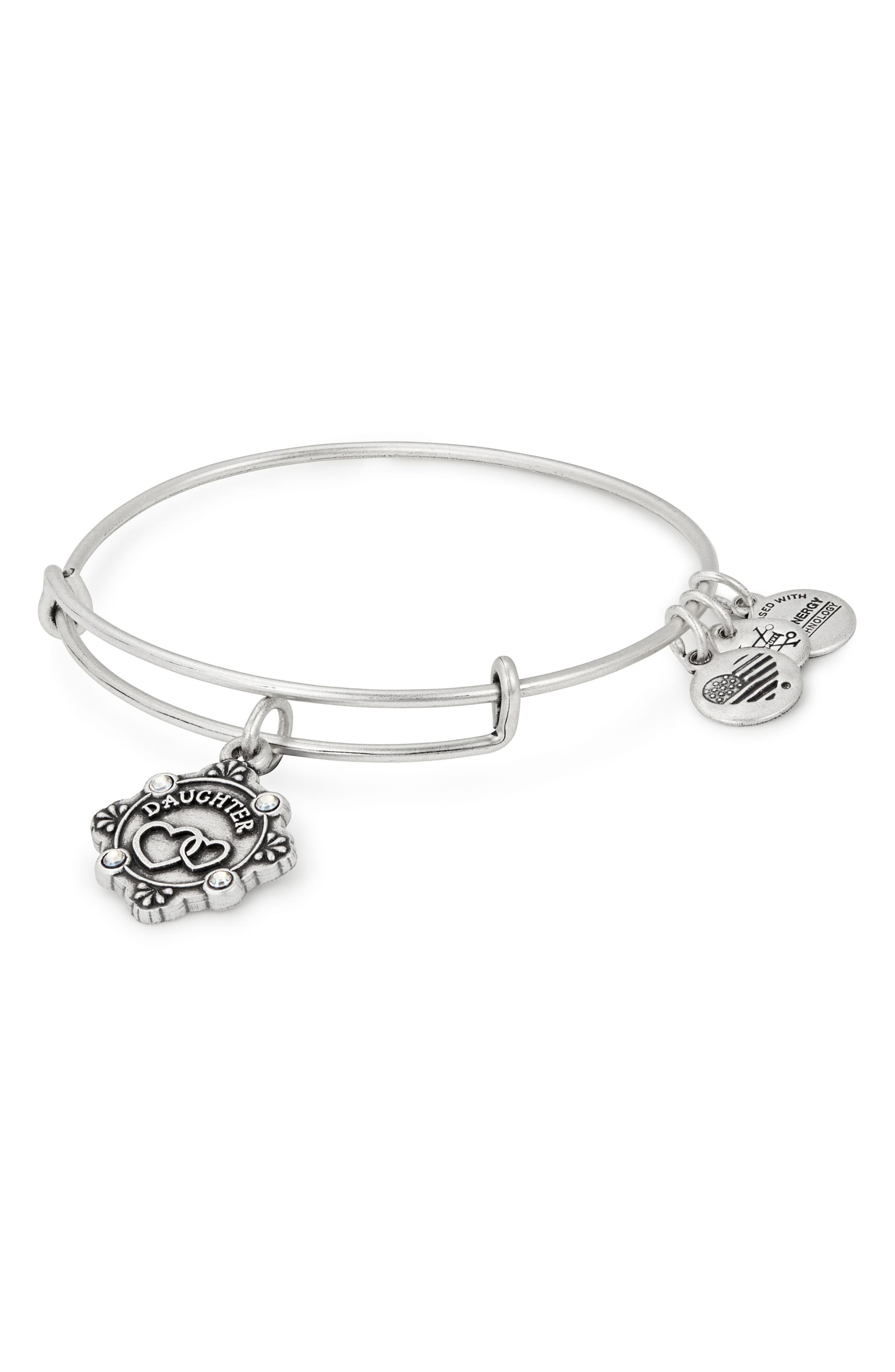Because I Love You Daughter Bracelet,                             Main thumbnail 1, color,                             SILVER