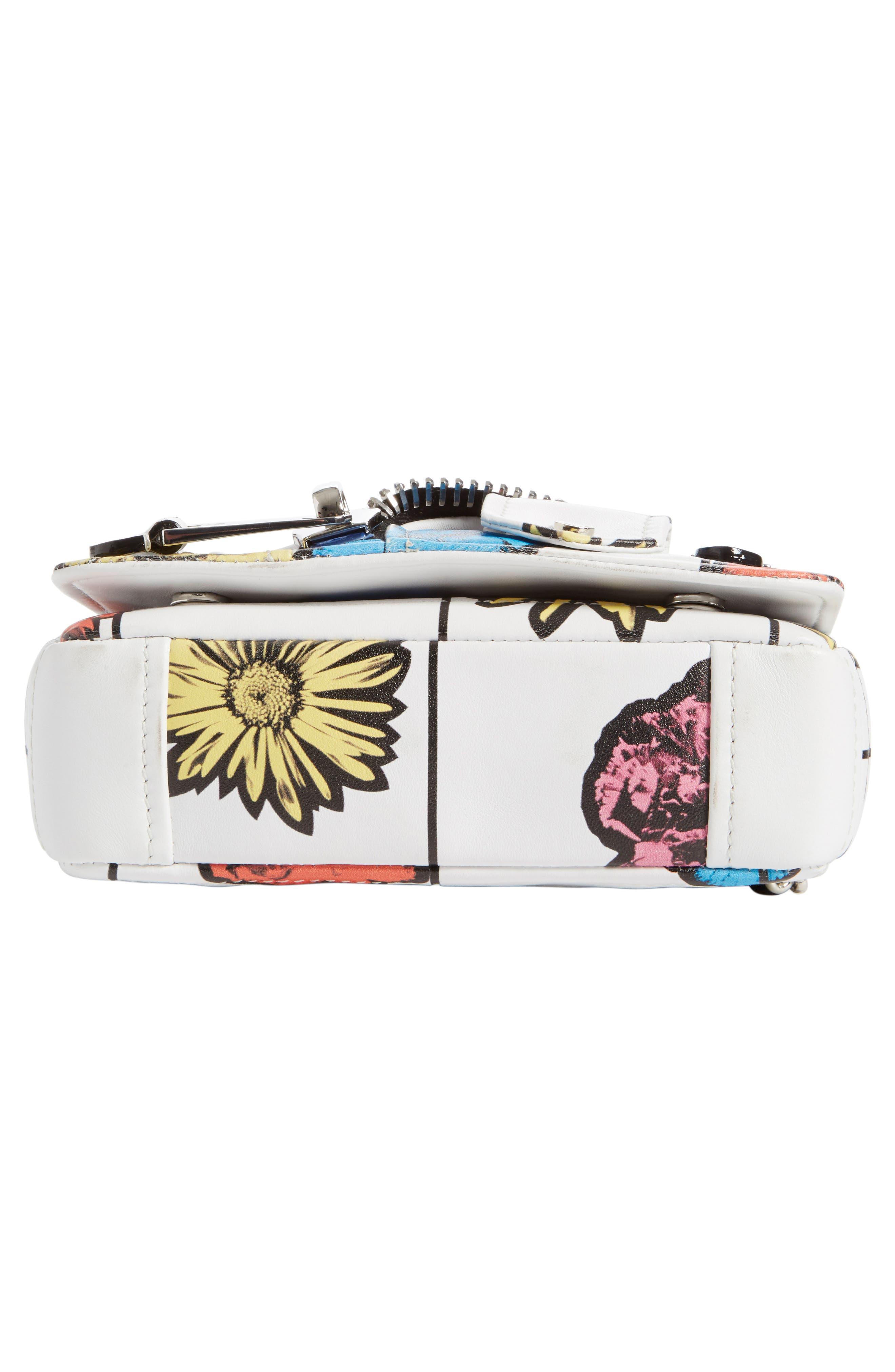 'Small Biker Jacket - Floral Print' Shoulder/Crossbody Bag,                             Alternate thumbnail 6, color,