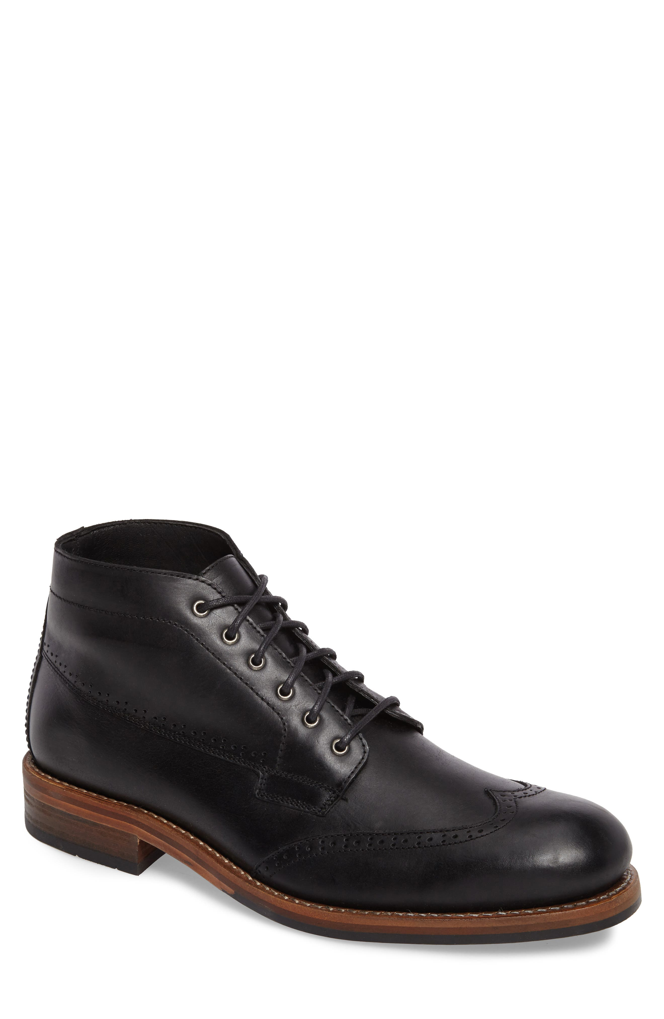 Harwell Wingtip Boot,                         Main,                         color, BLACK