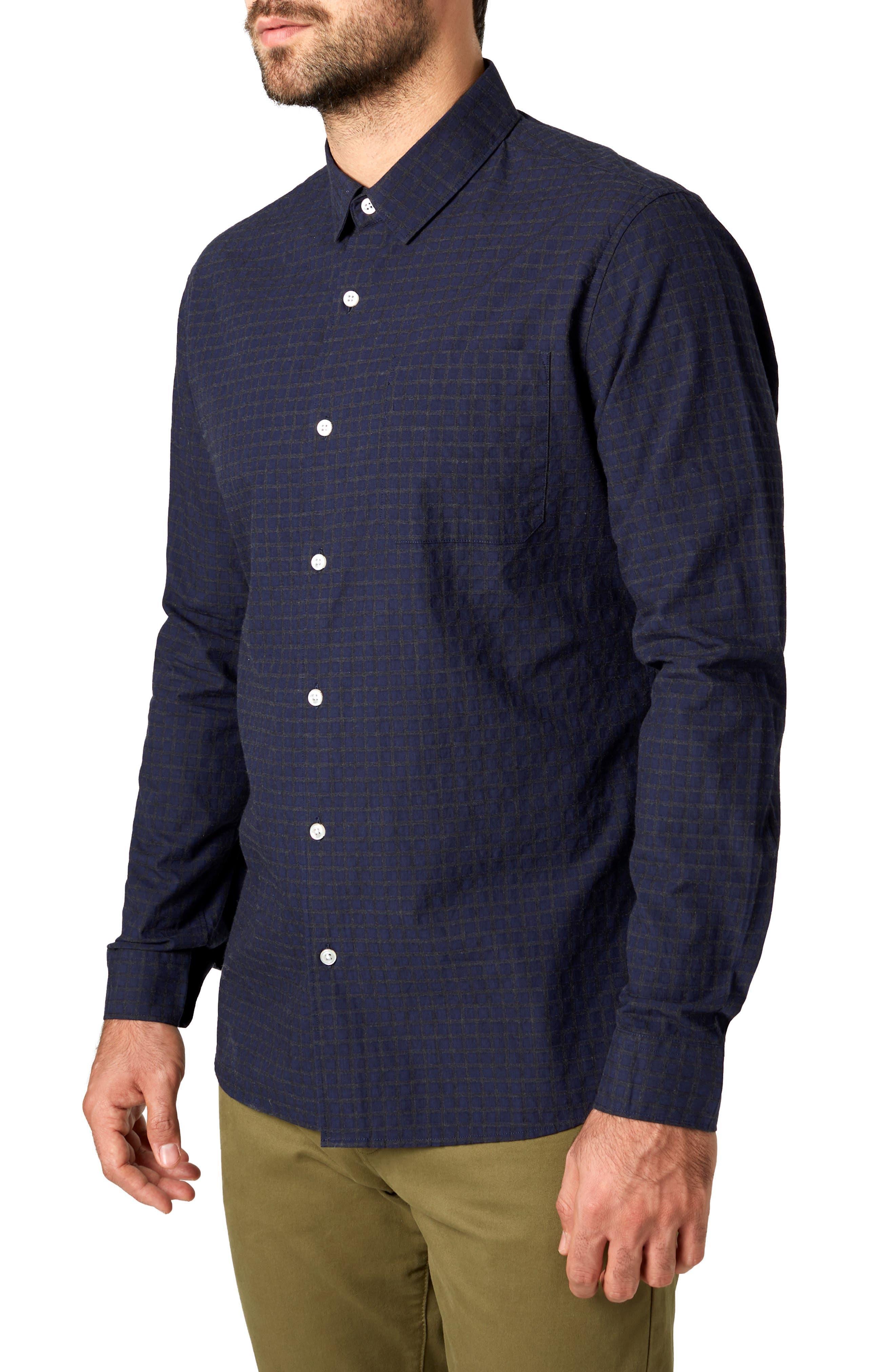 Players Club Trim Fit Linen Blend Sport Shirt,                             Alternate thumbnail 4, color,                             MIDNIGHT