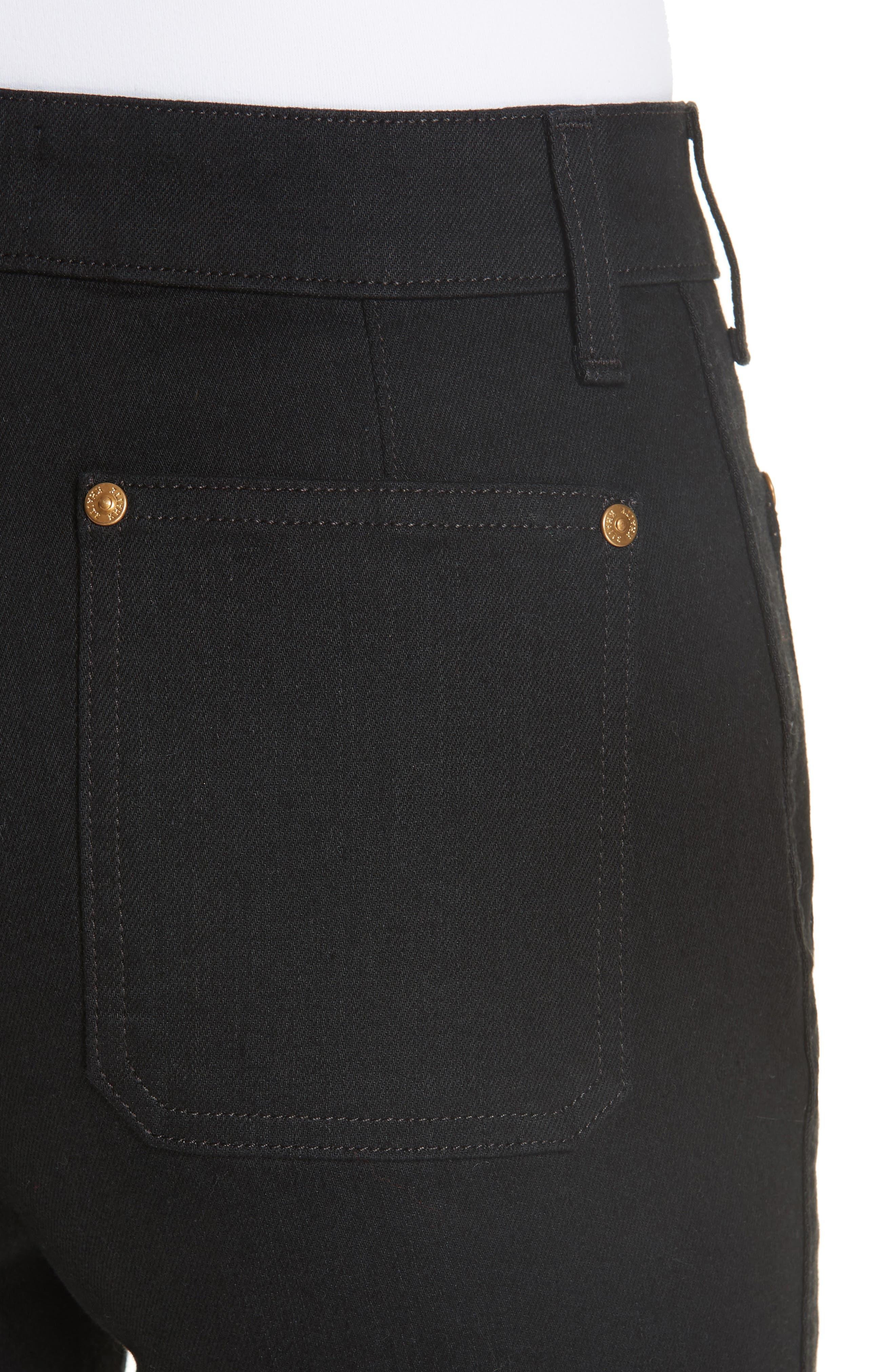 Patch Pocket Crop Flare Jeans,                             Alternate thumbnail 4, color,                             BLACK RINSE