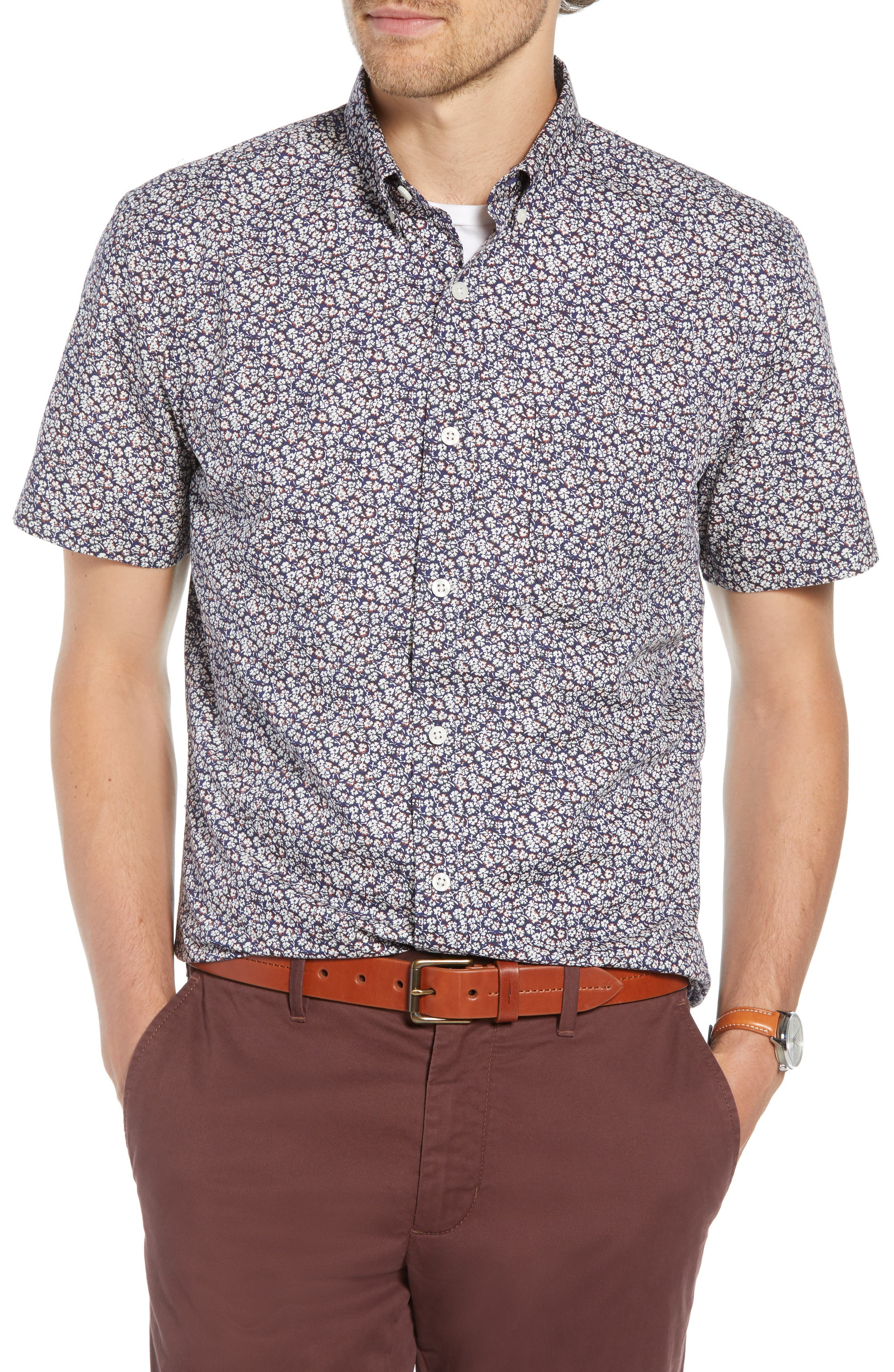 Micro Floral Print Sport Shirt,                             Main thumbnail 1, color,                             NAVY CREAM MICRO FLOWER
