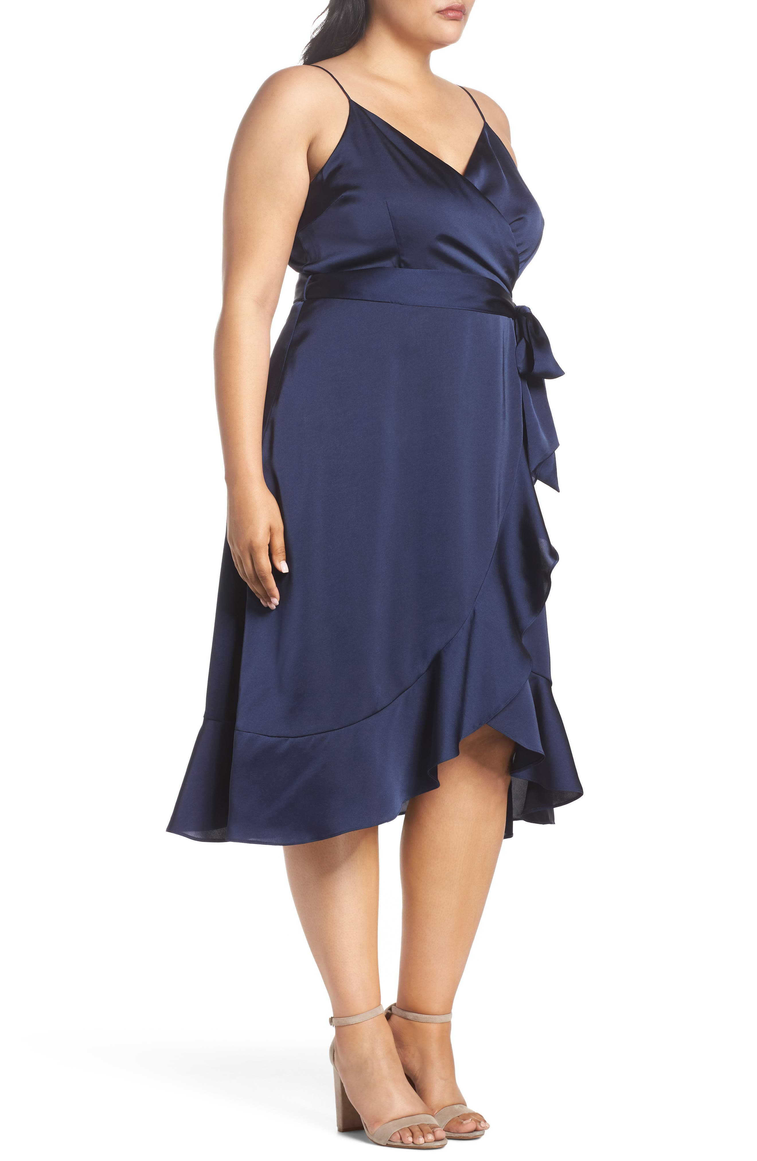 Marilyn Satin Faux Wrap Dress,                             Alternate thumbnail 3, color,                             400