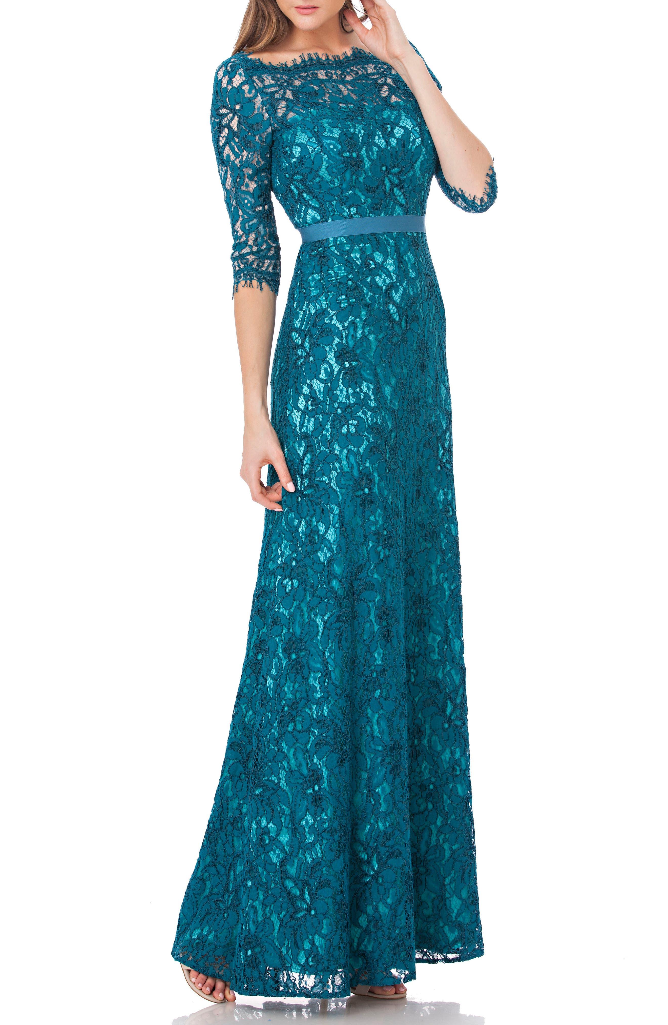 Bateau Neck Lace Gown,                         Main,                         color, 428