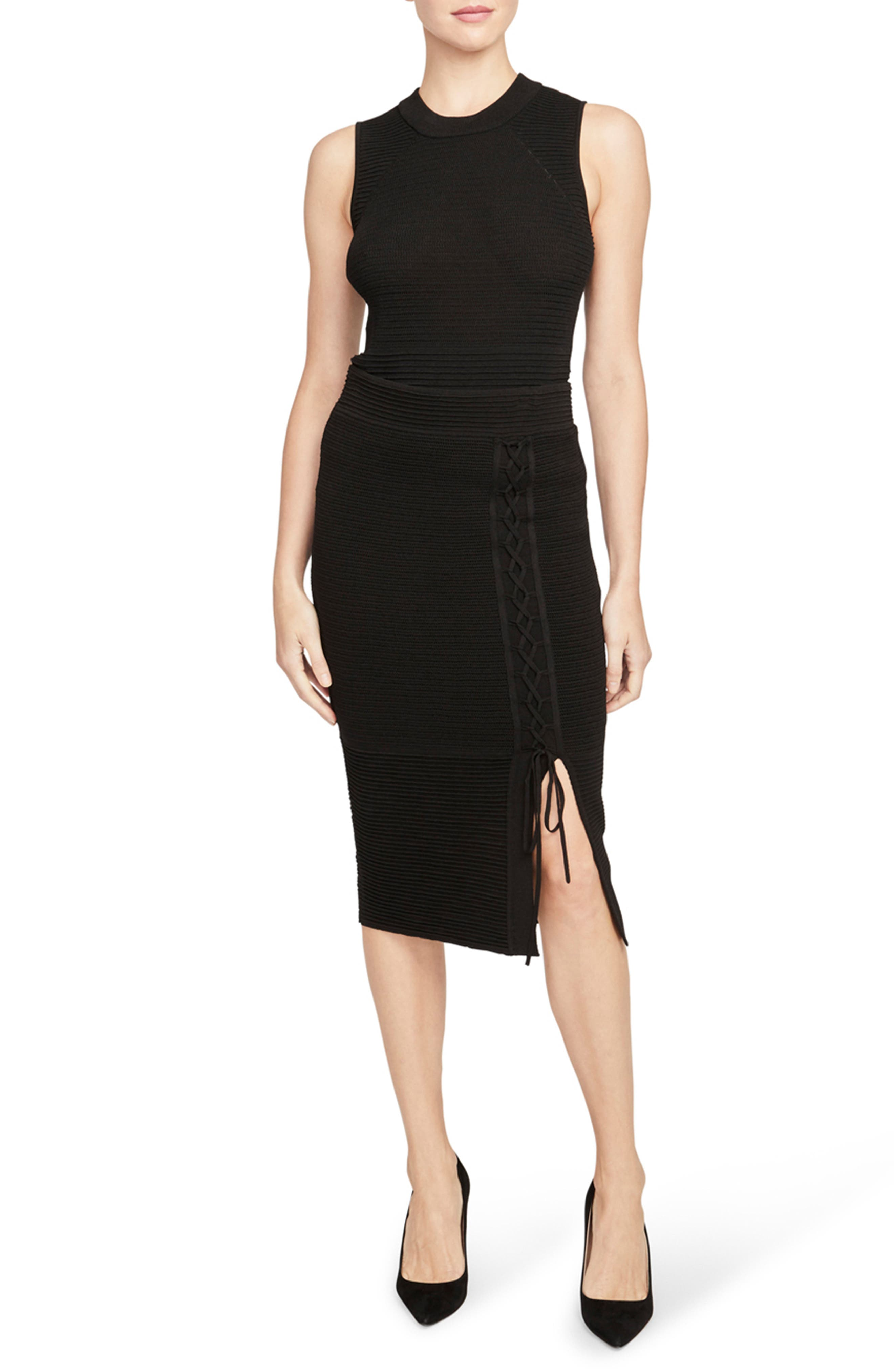 Rachel Roy Collection Ribbed Lace-Up Pencil Skirt, Black