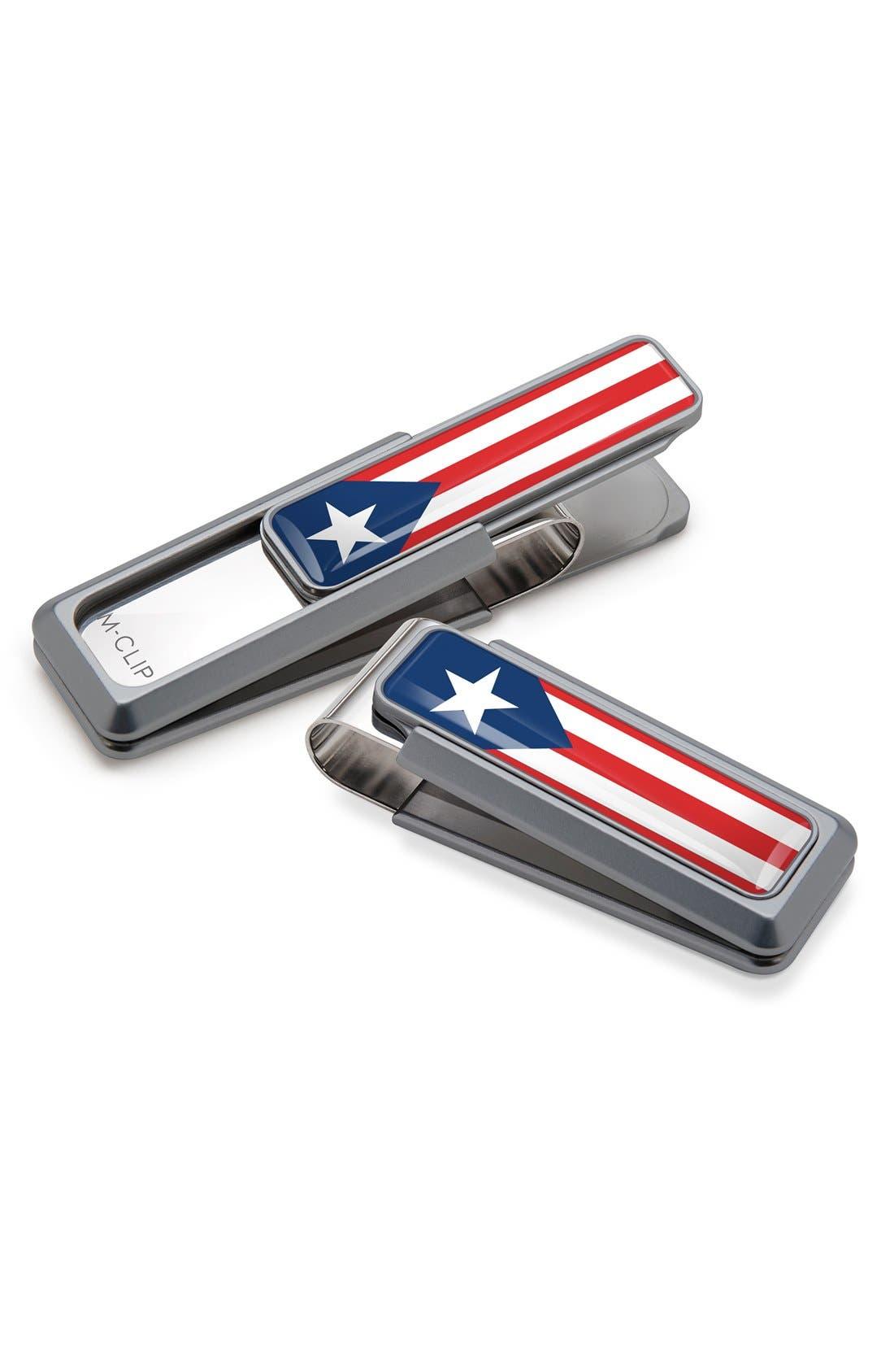 Puerto Rican Flag Money Clip,                             Main thumbnail 1, color,                             NATURAL