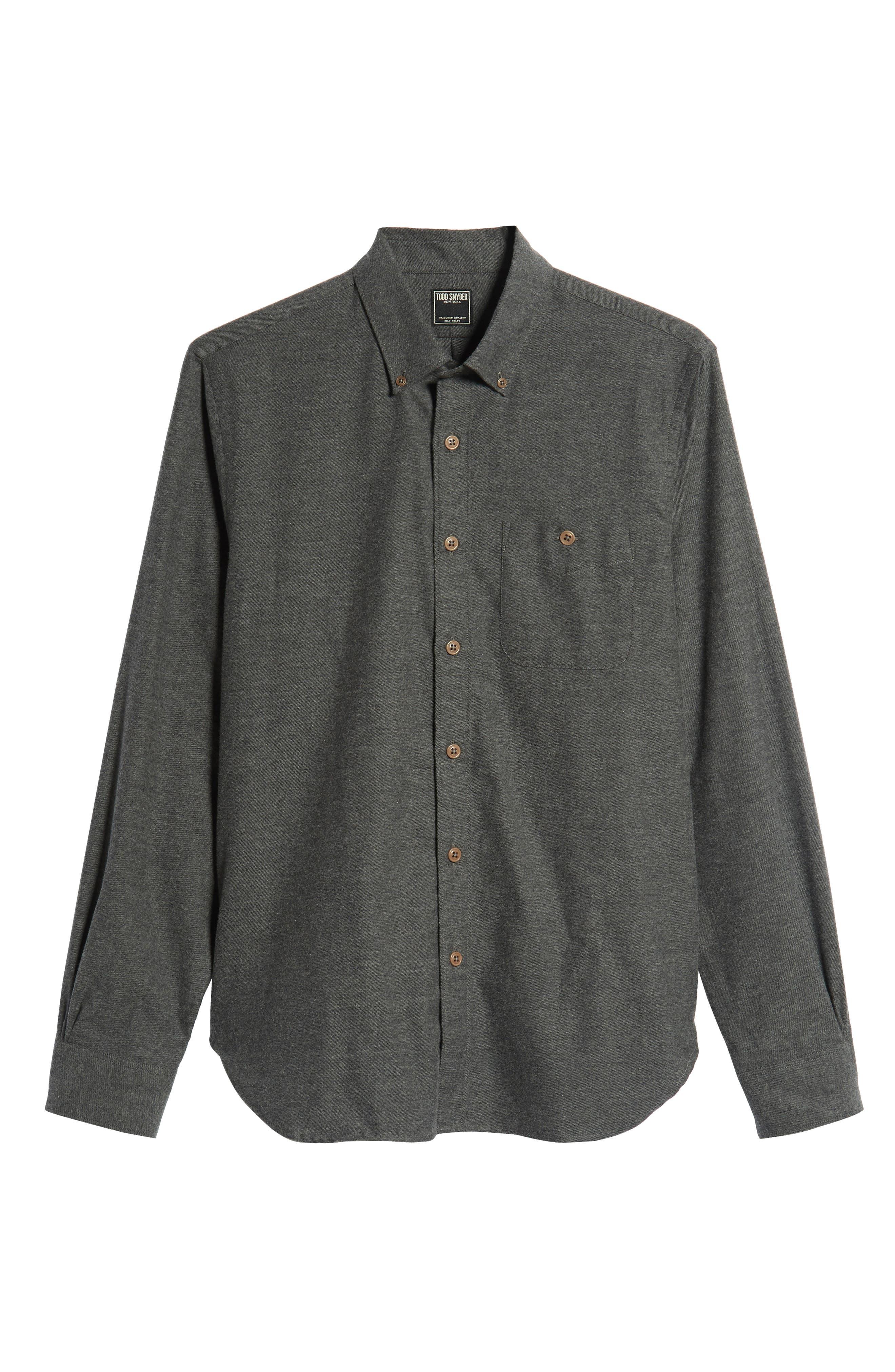 Brushed Cotton & Cashmere Twill Sport Shirt,                             Alternate thumbnail 5, color,                             020