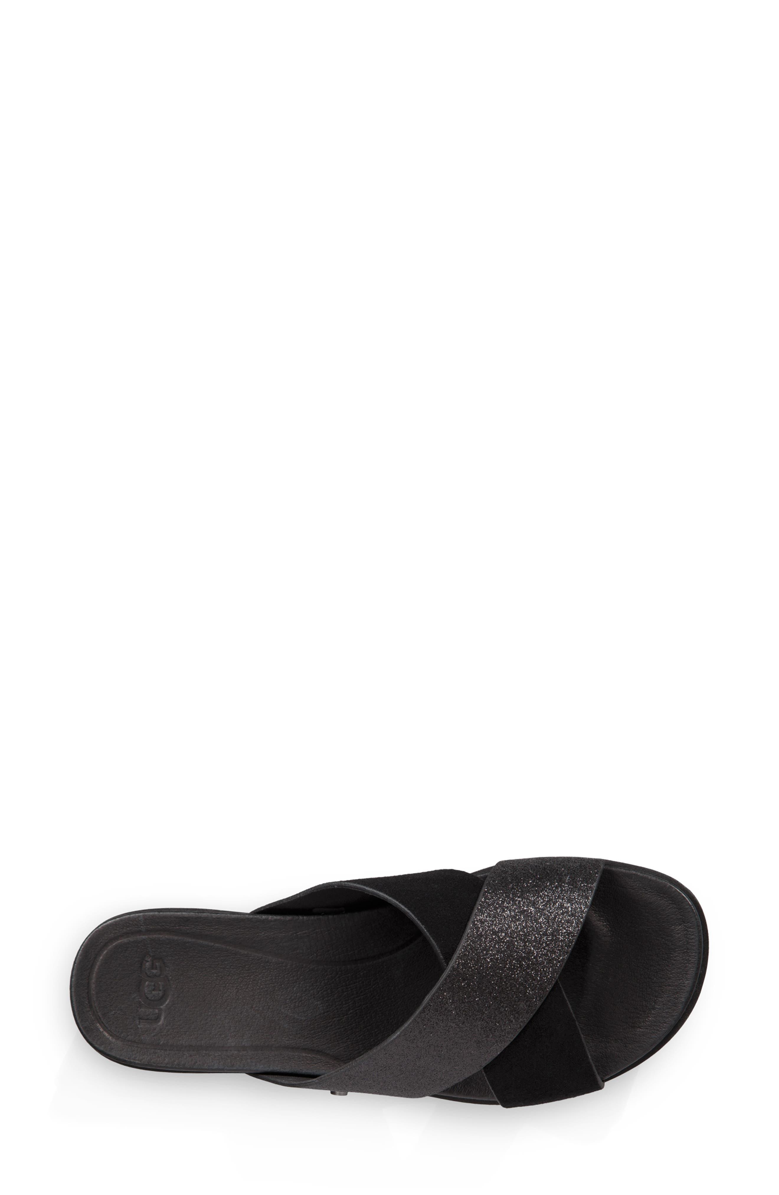 Kari Glitter Slide Sandal,                             Alternate thumbnail 4, color,                             BLACK LEATHER