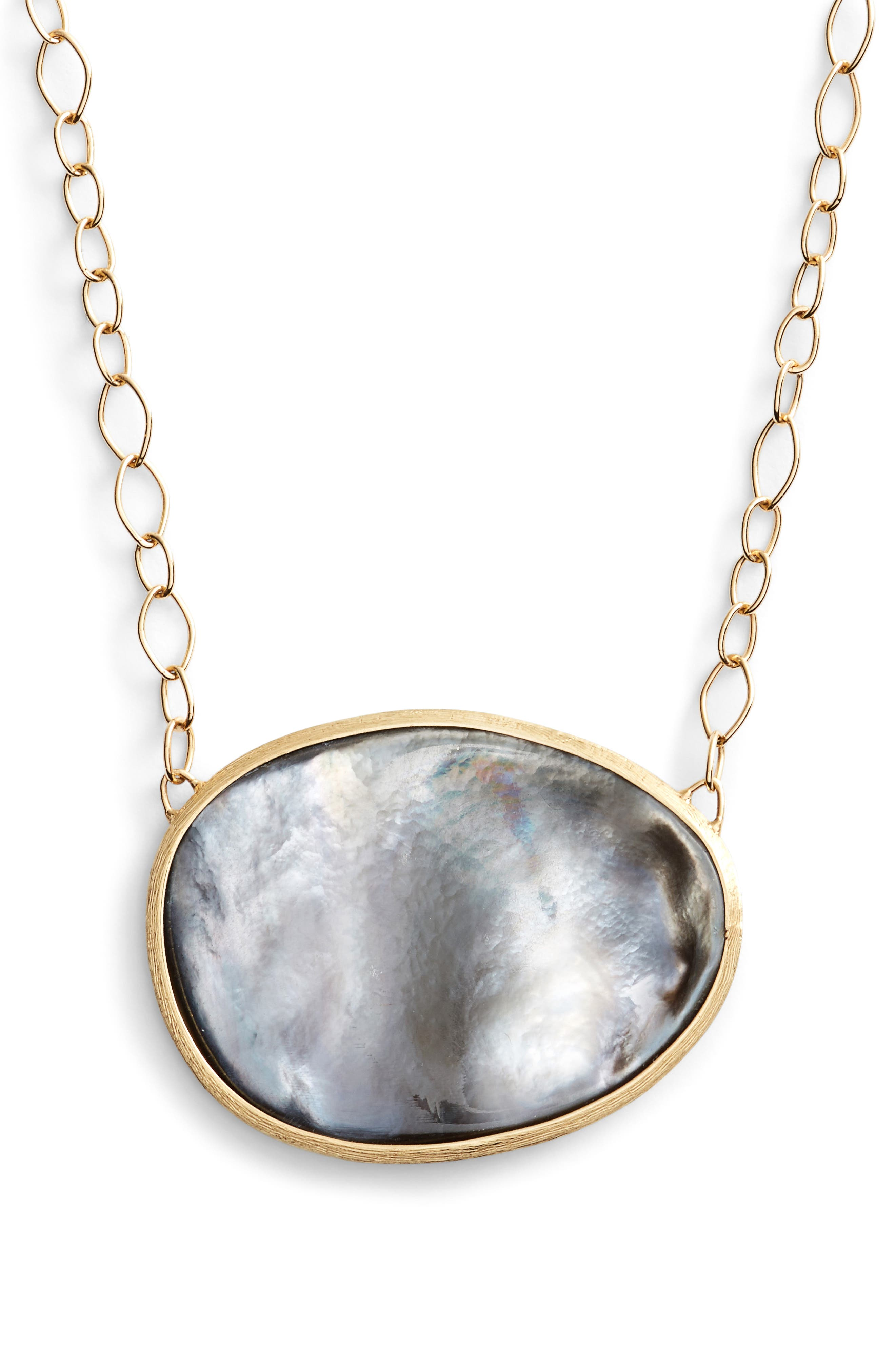 Lunaria Mother of Pearl Pendant Necklace,                         Main,                         color, GREY MOTHER OF PEARL