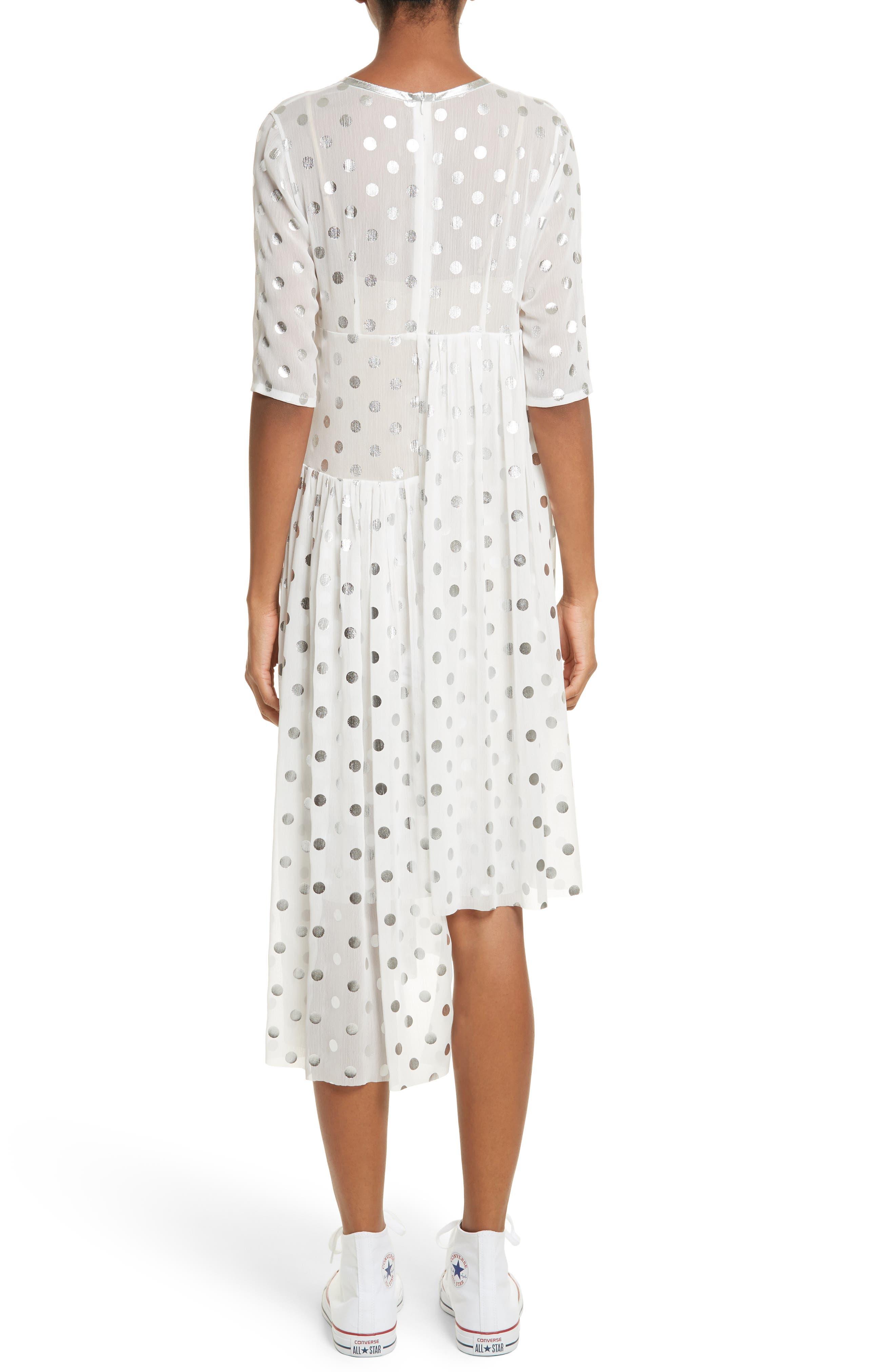 Asymmetric Gathered Short Sleeve Dress,                             Alternate thumbnail 2, color,                             110