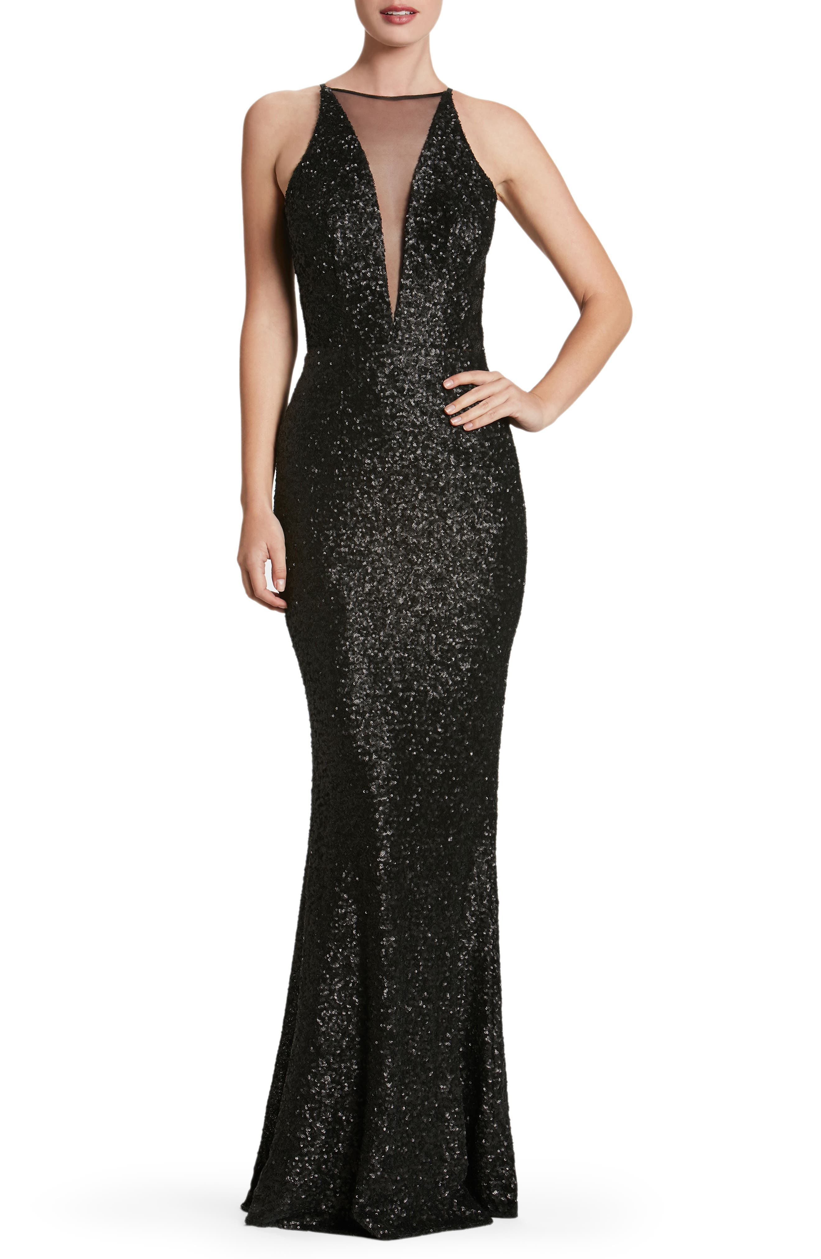 Brenda Plunging Illusion Sequin Mermaid Gown,                             Main thumbnail 1, color,