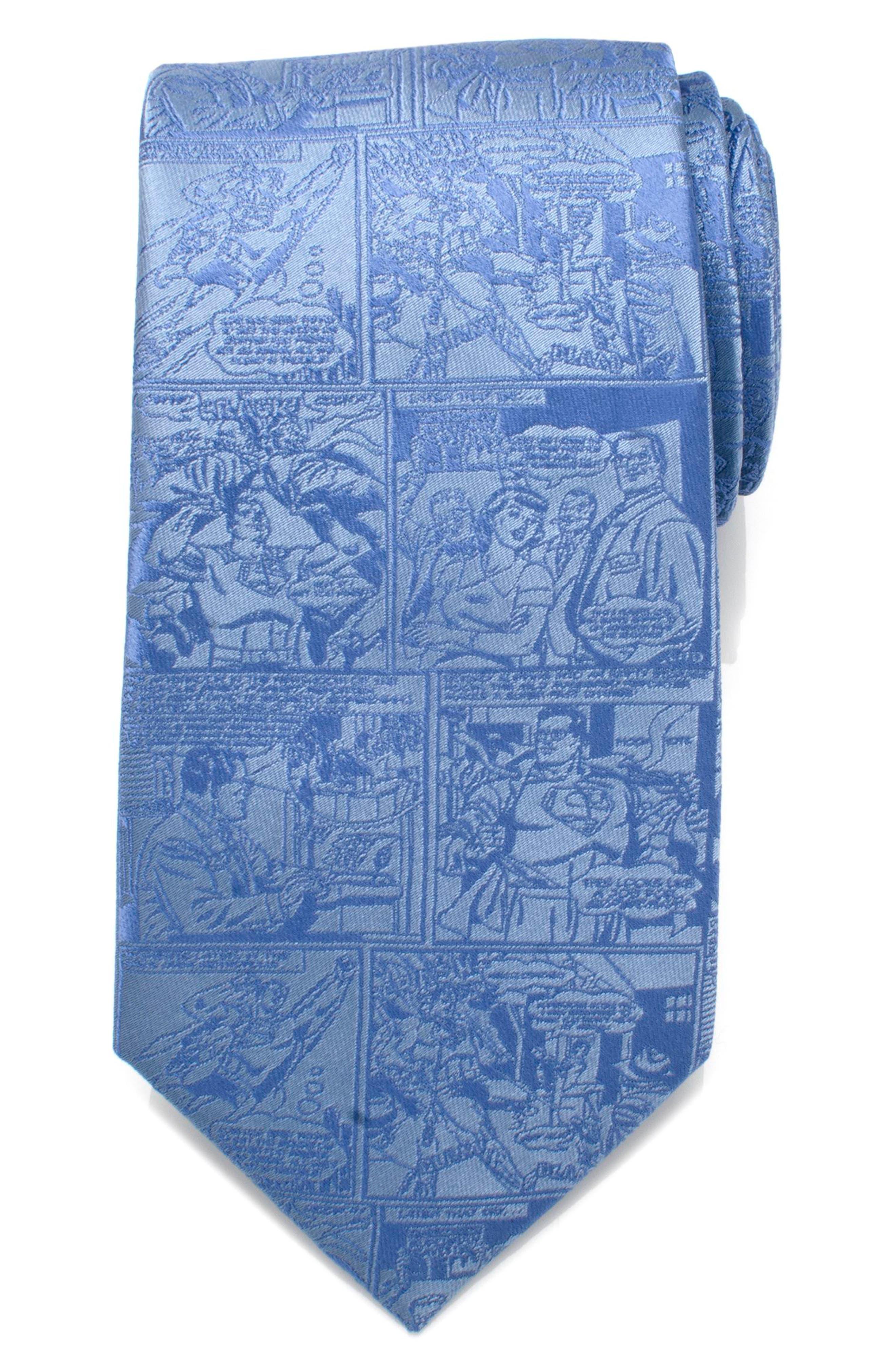 Superman Comic Silk Tie,                         Main,                         color, BLUE