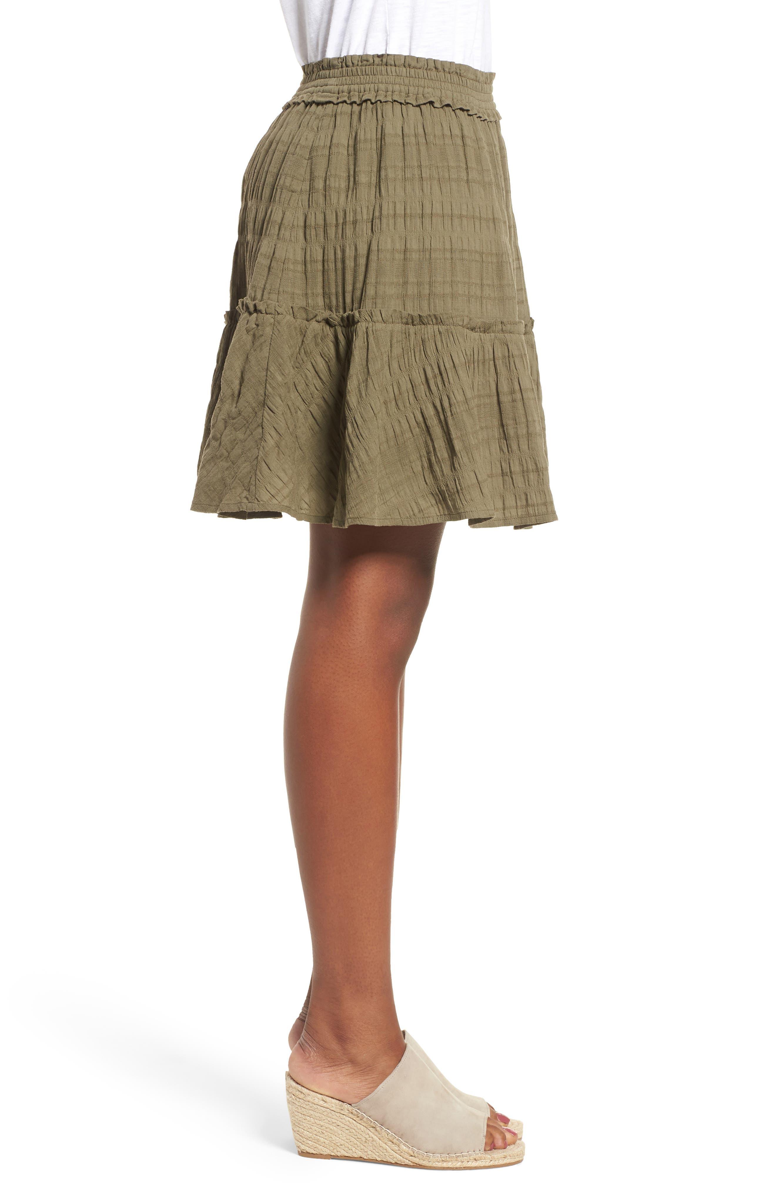 Smocked Stretch Cotton Mini Skirt,                             Alternate thumbnail 3, color,                             311