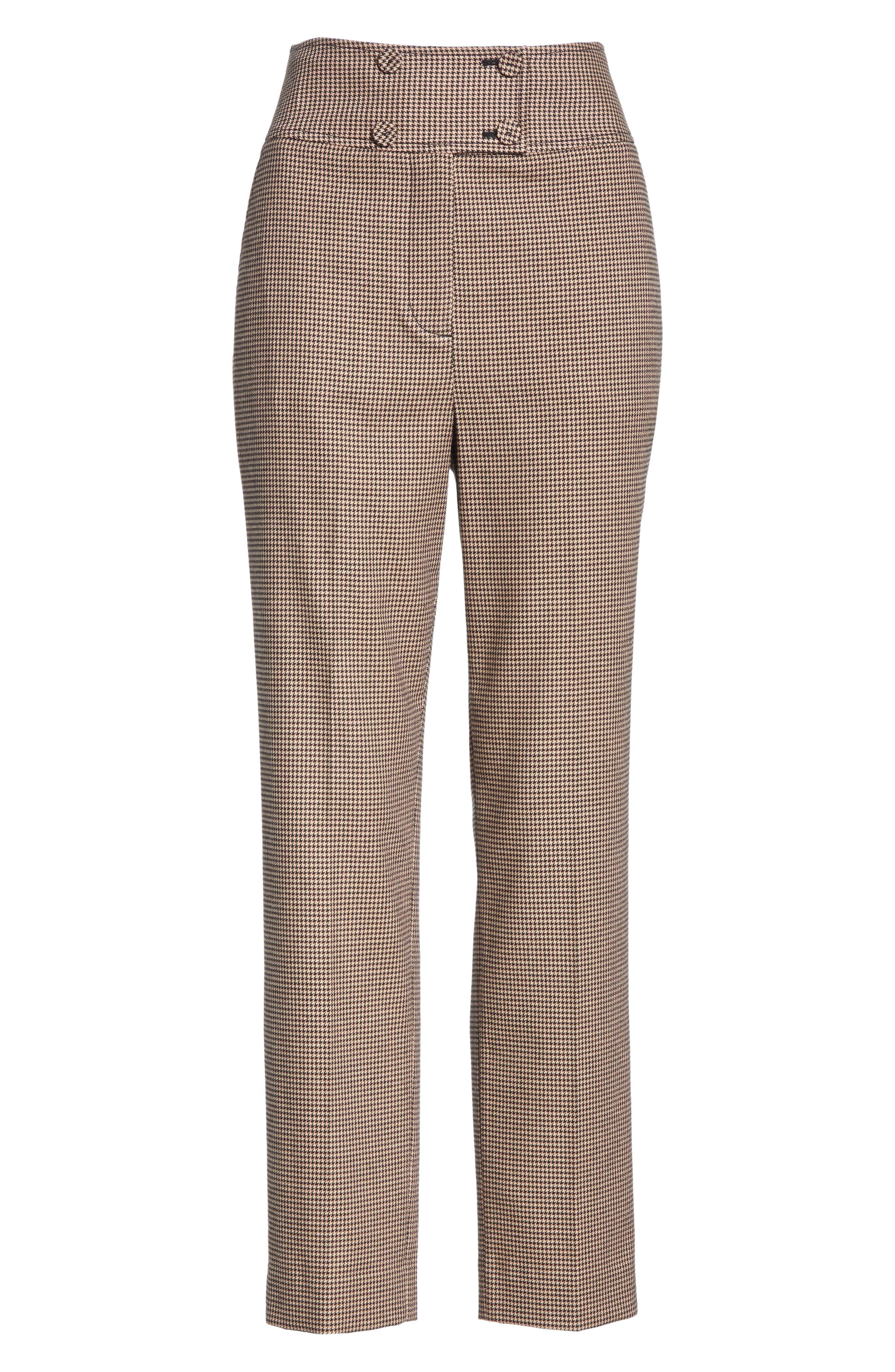 Houndstooth Check Stretch Cotton Blend Pants,                             Alternate thumbnail 6, color,                             CAMEL/ BLACK